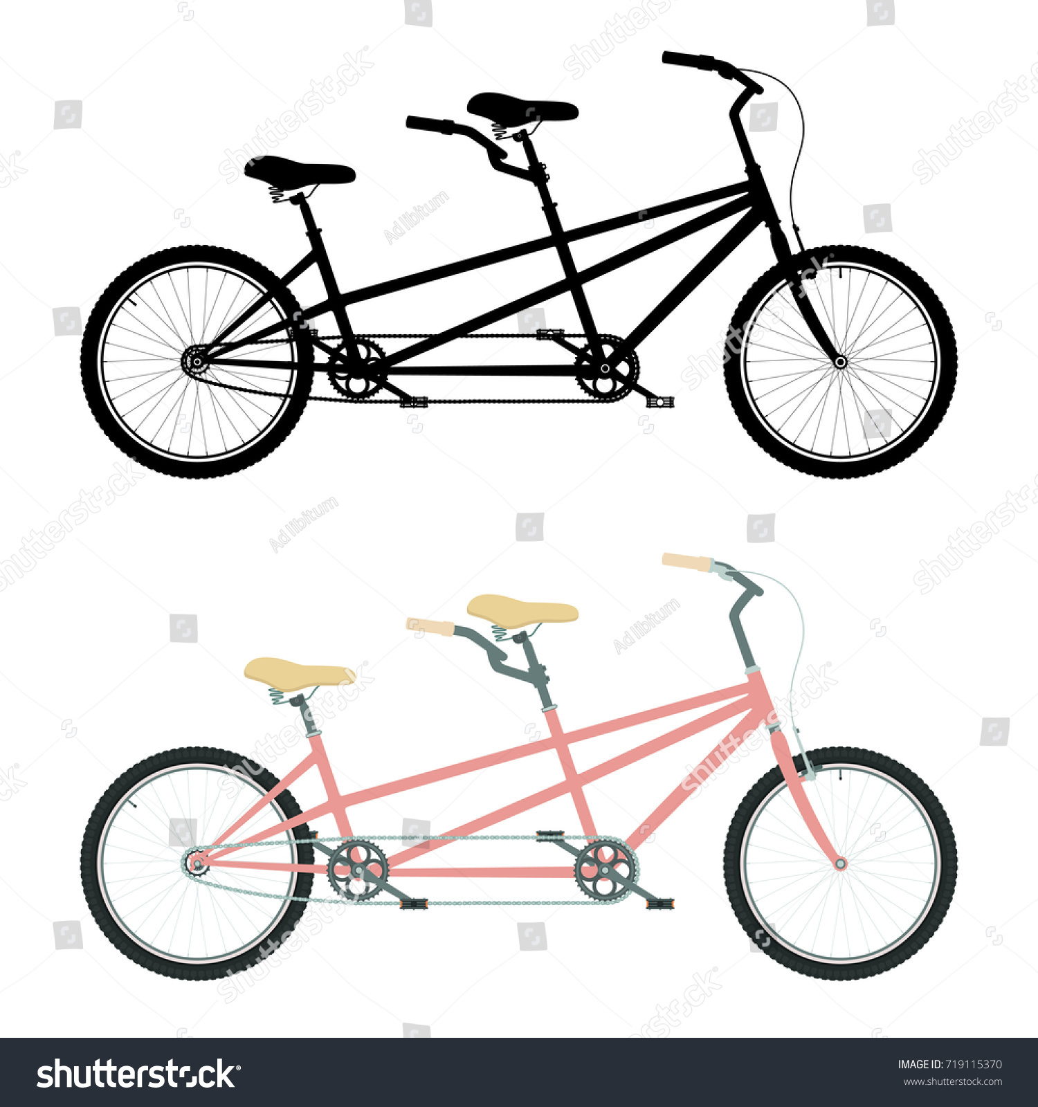 Tandem Bicycle Color Tandem Bike Silhouette Stock Vector ...