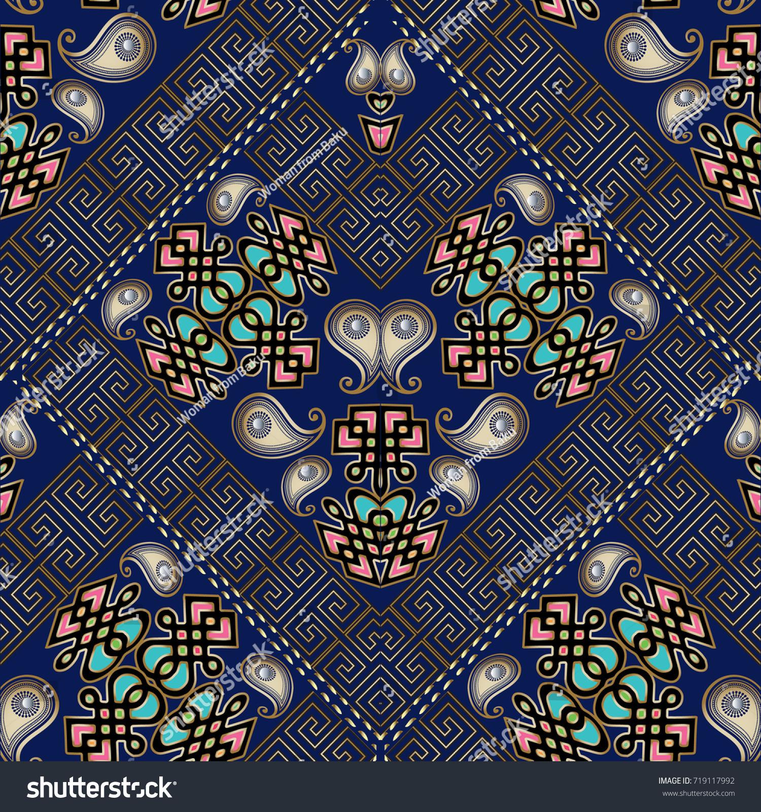 Paisley Seamless Pattern Dark Blue Floral Stock Vector