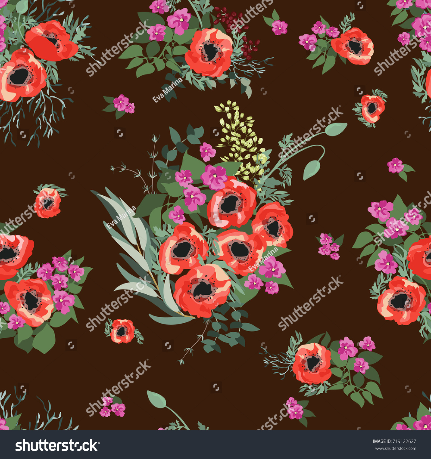 Seamless Pattern Small Pretty Red Flowers Stock Vector Royalty Free