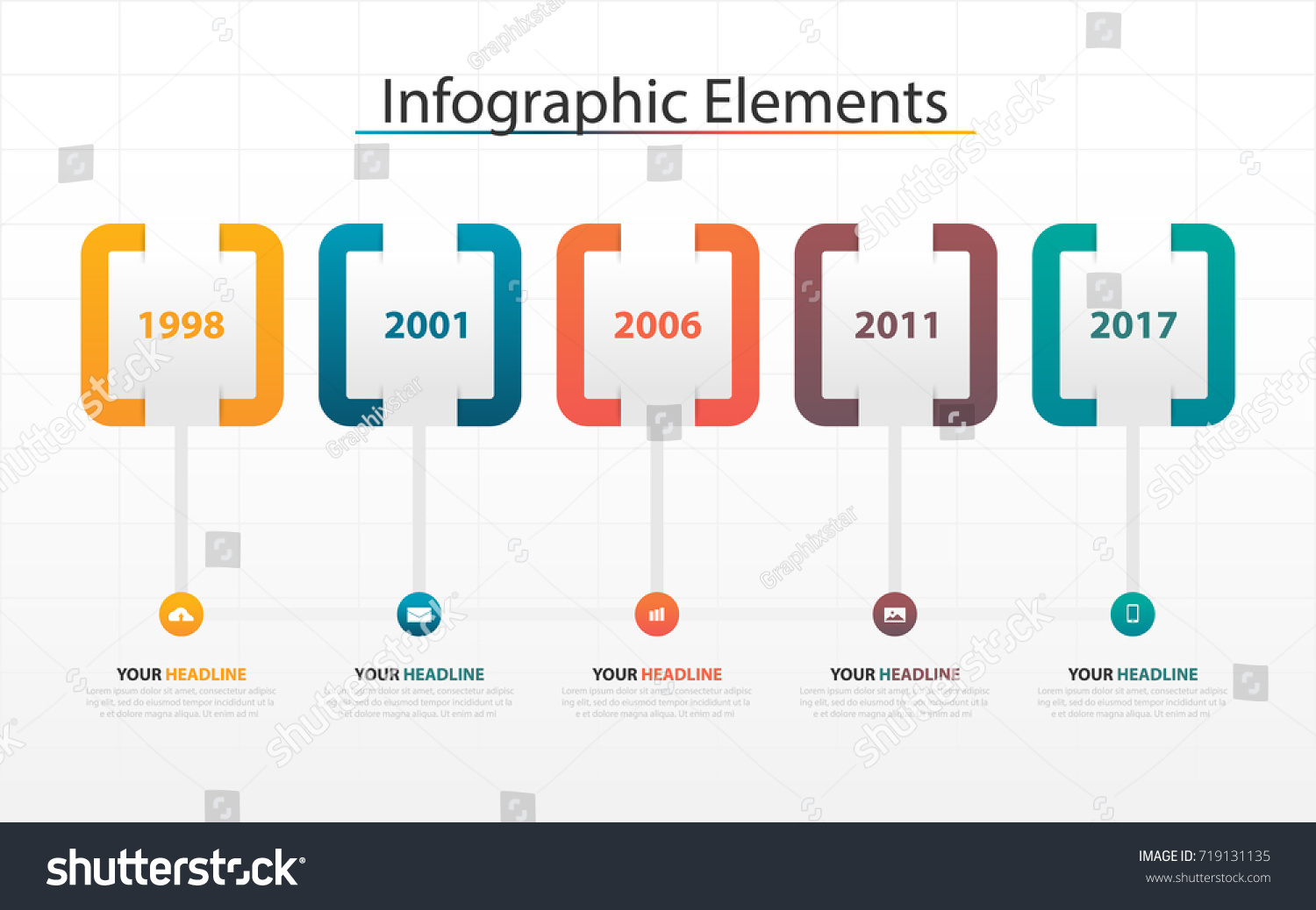 business timeline process chart infographics template stock vector
