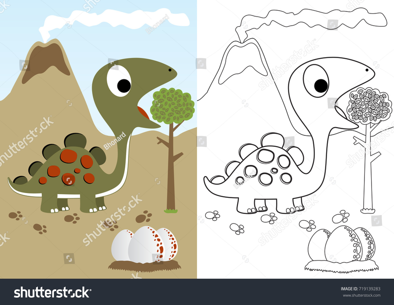 Herbivore Animals Coloring Pages : Dino herbivore eggs vector cartoon coloring stock vector hd
