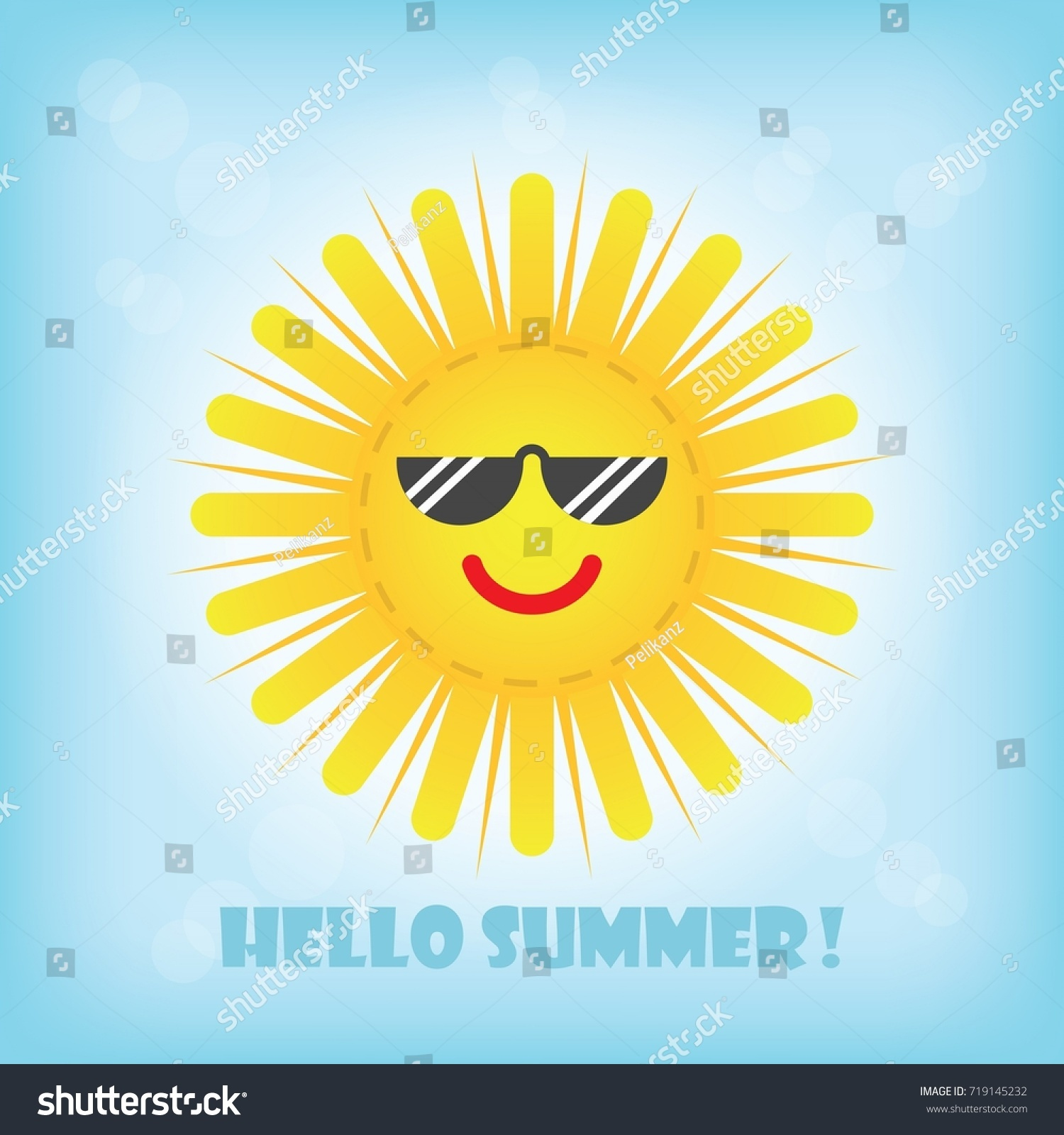 Hello Summer Smiling Yellow Sun Emoji Icon With Sunglasses In The Blue Sky