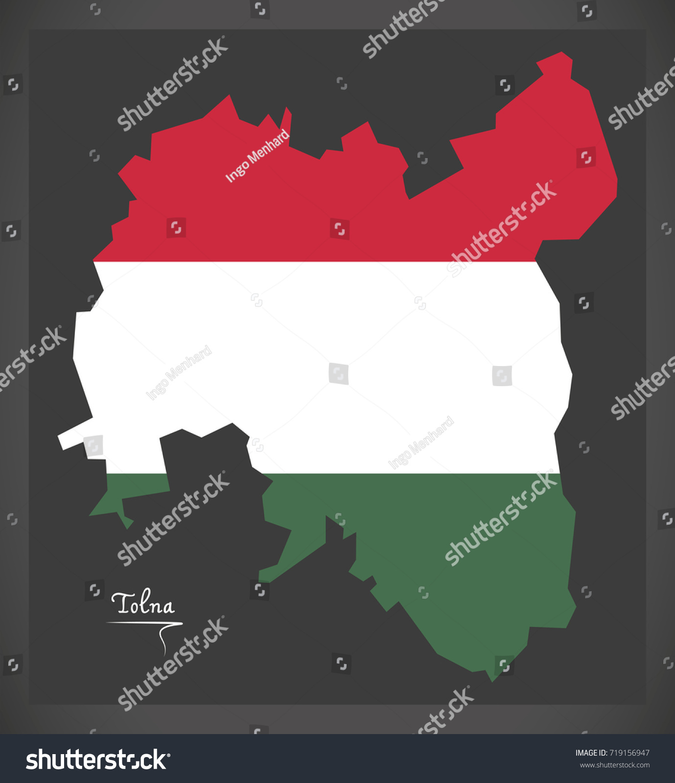 tolna map hungary hungarian national flag stock vector 719156947