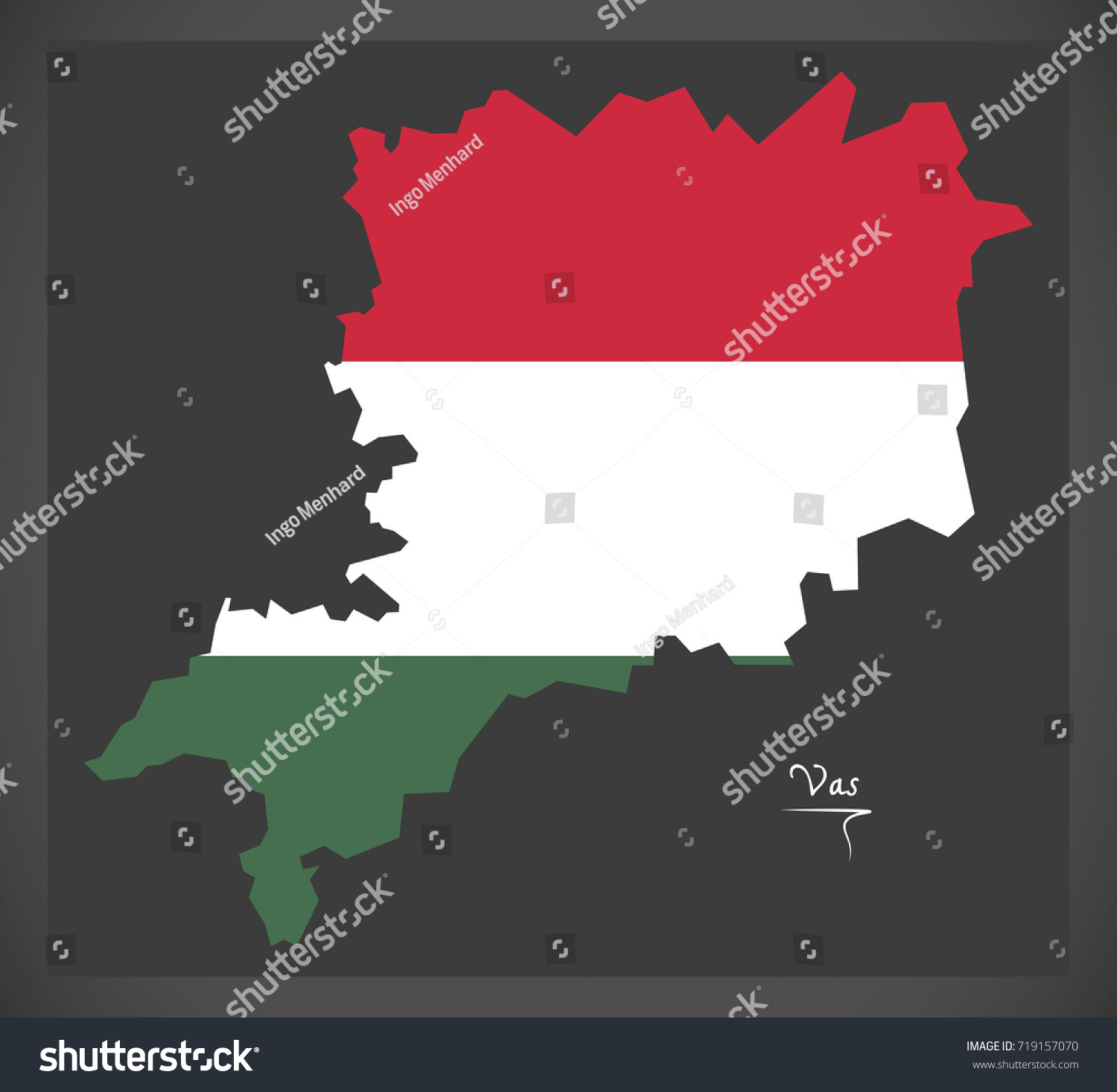 vas map hungary hungarian national flag stock vector 719157070
