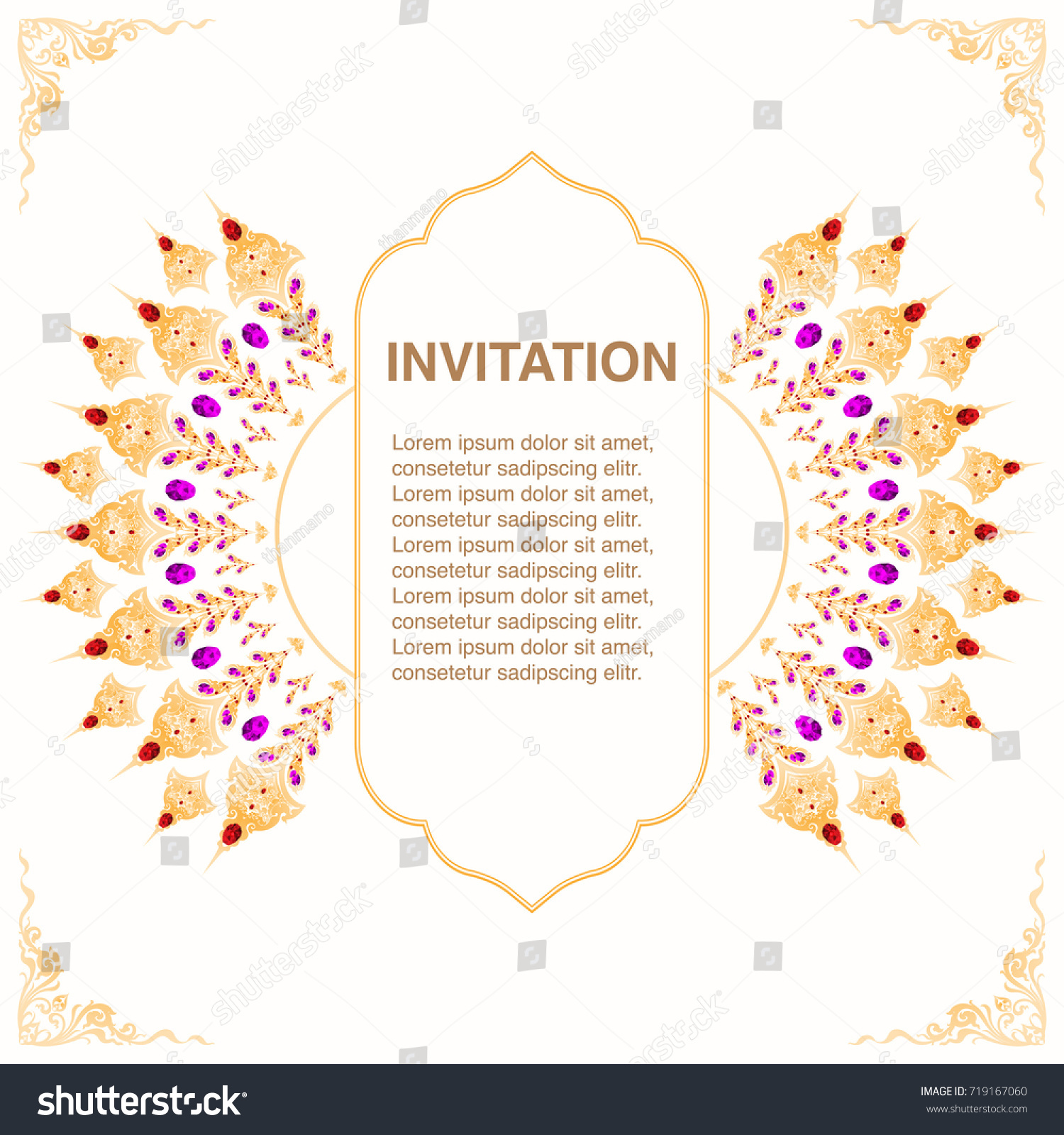 Invitation template frame border vector decoration stock vector invitation template frame and border vector decoration with jewelry in thai style floral antique illustration stopboris Image collections