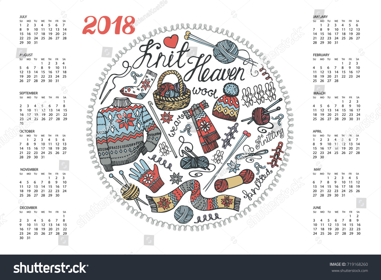 Drawing Calendar 2018 : Calendar new yeardoodles hand made stock vector