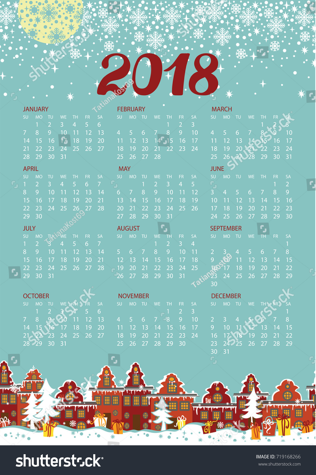 Happy New Year 2018 Celebration Calendar. Lttle Town In Winter Day.Houses  In The