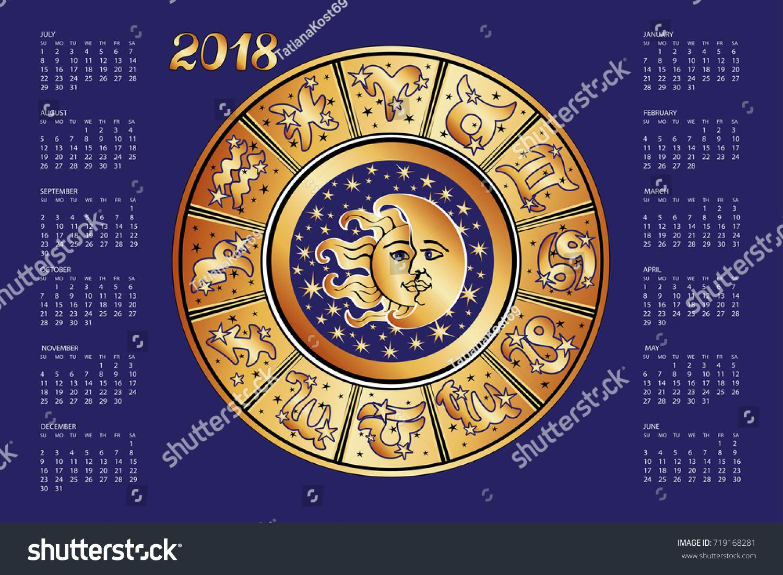 2018 new year calendarhoroscope circle zodiac stock vector 2018 new year calendarhoroscope circle with zodiac signnstellationstars astrology buycottarizona Images