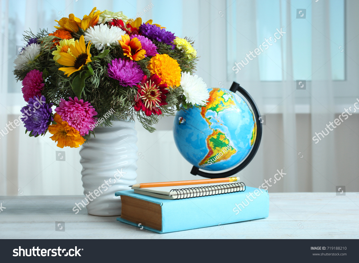 Bouquet Beautiful Flowers Vase Globe Books Stock Photo (Edit Now ...