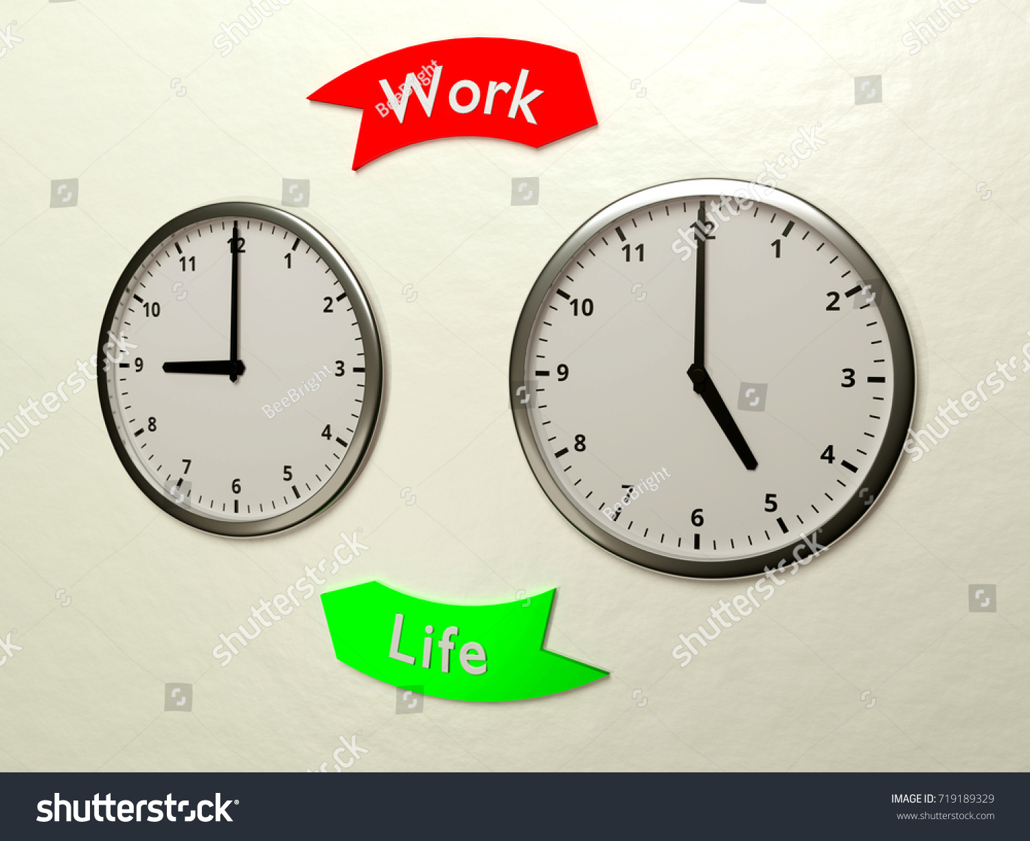 Royalty Free Stock Illustration Of Two Clocks On Wall Showing Time