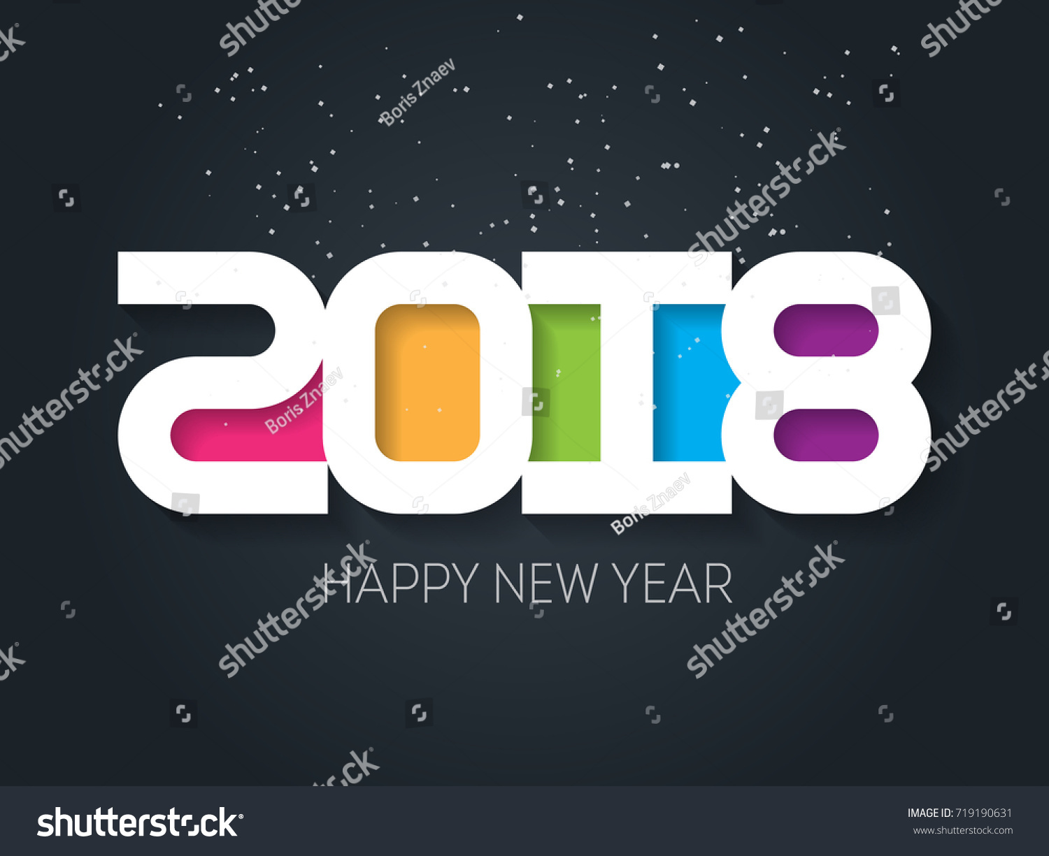 Happy New Year 2018 Vector Greeting Stock Vector 719190631