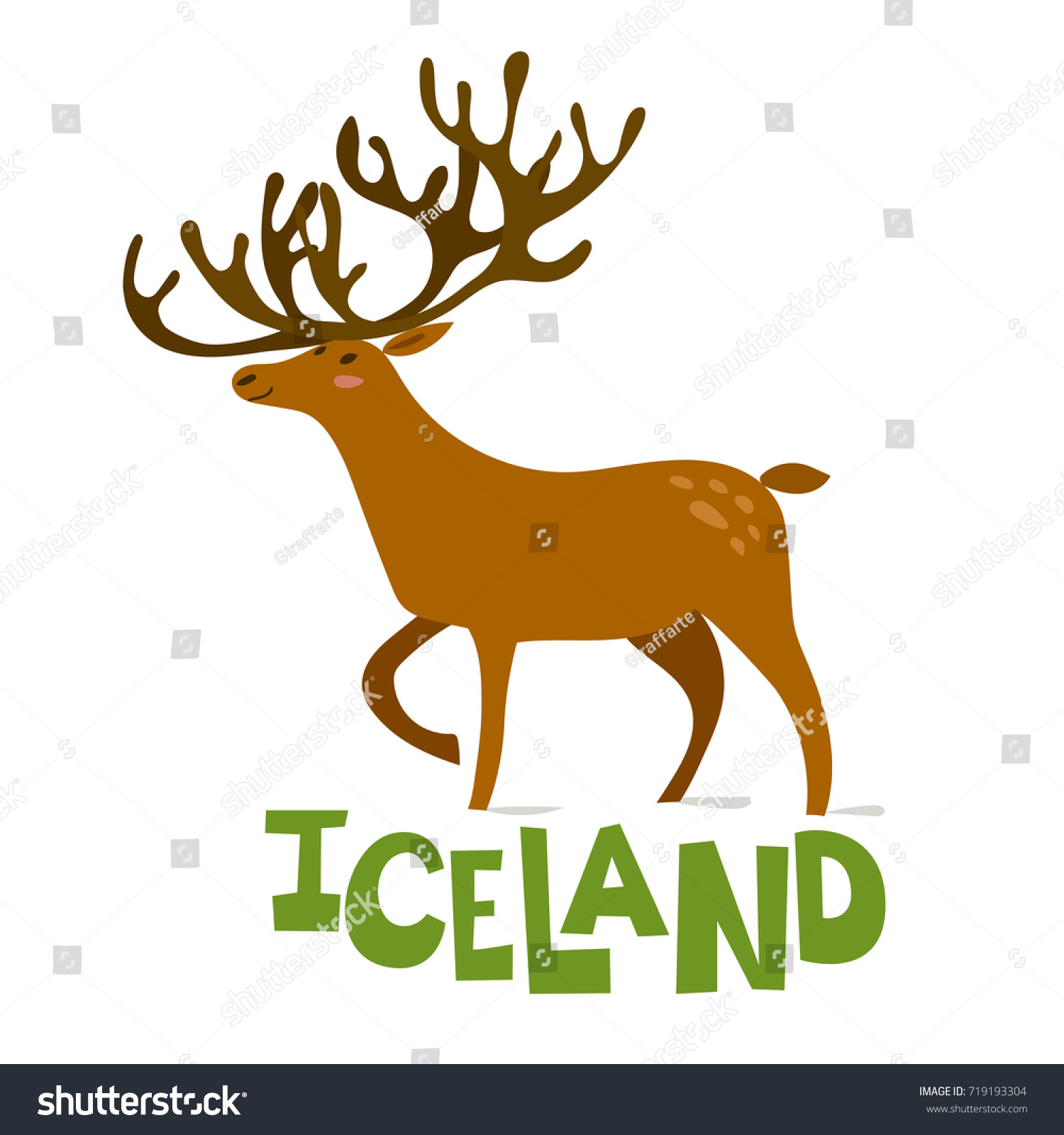 Vector Illustration Icelandic Deer Stock Vector (Royalty Free ...