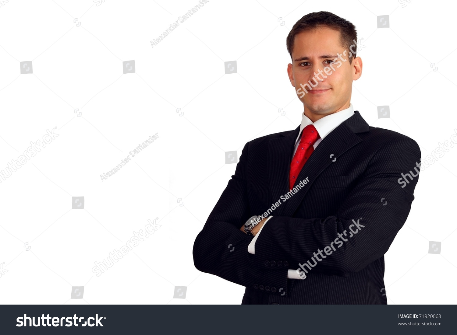 handsome young man suit his arms stock photo 71920063