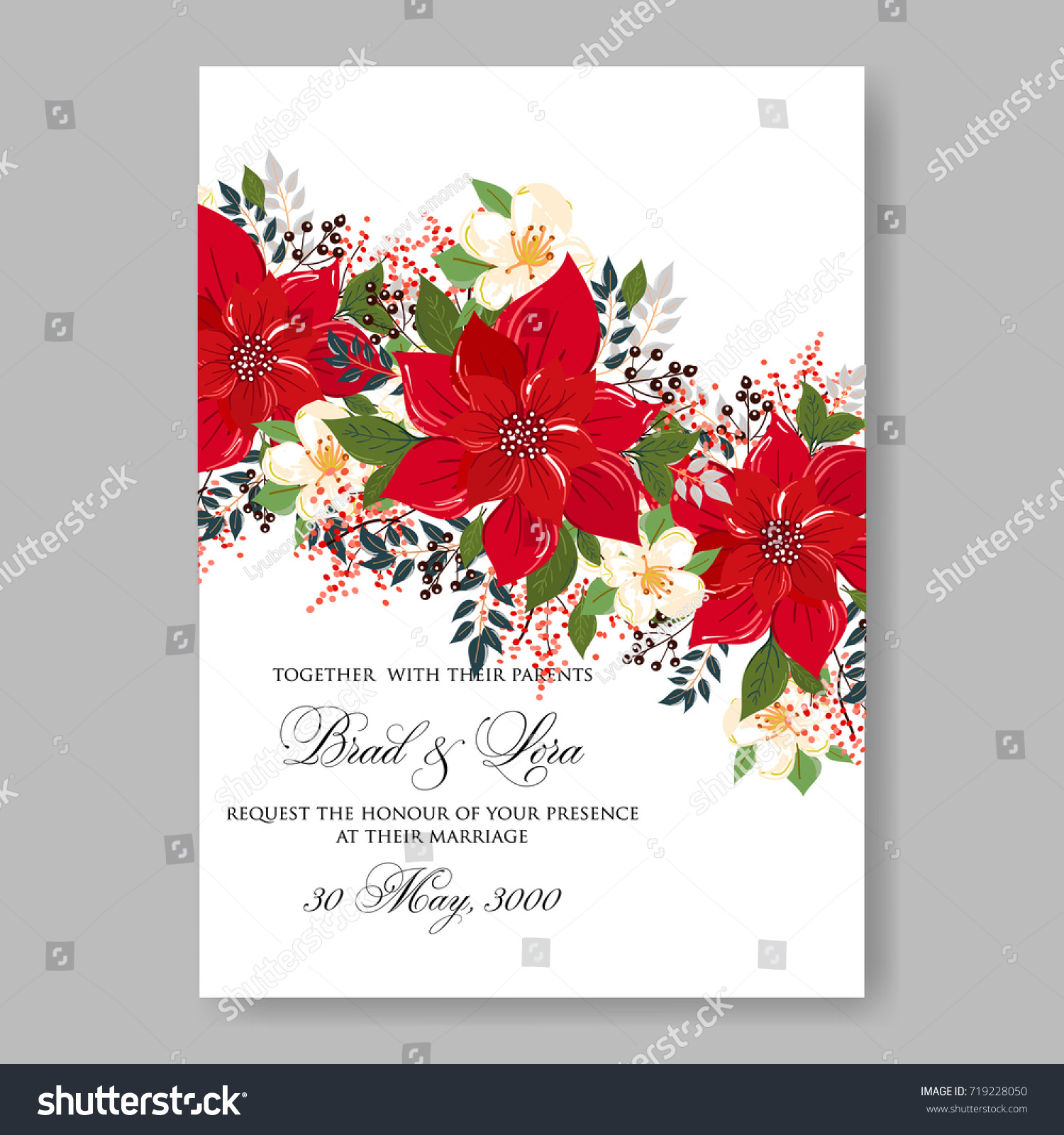 Wedding Invitation Card Beautiful Floral Vector Stock Vector ...
