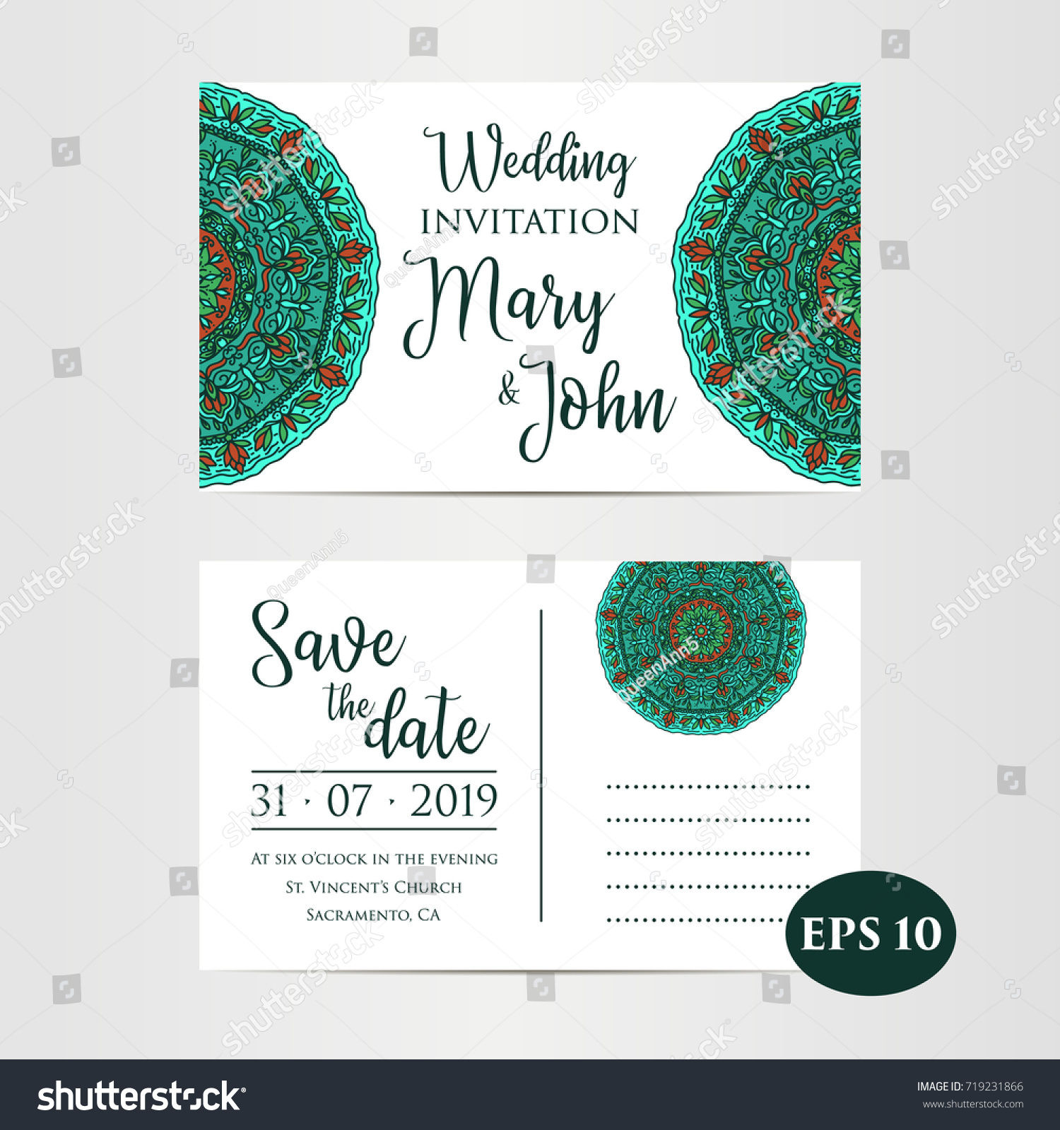 vintage template design layout wedding invitation stock vector