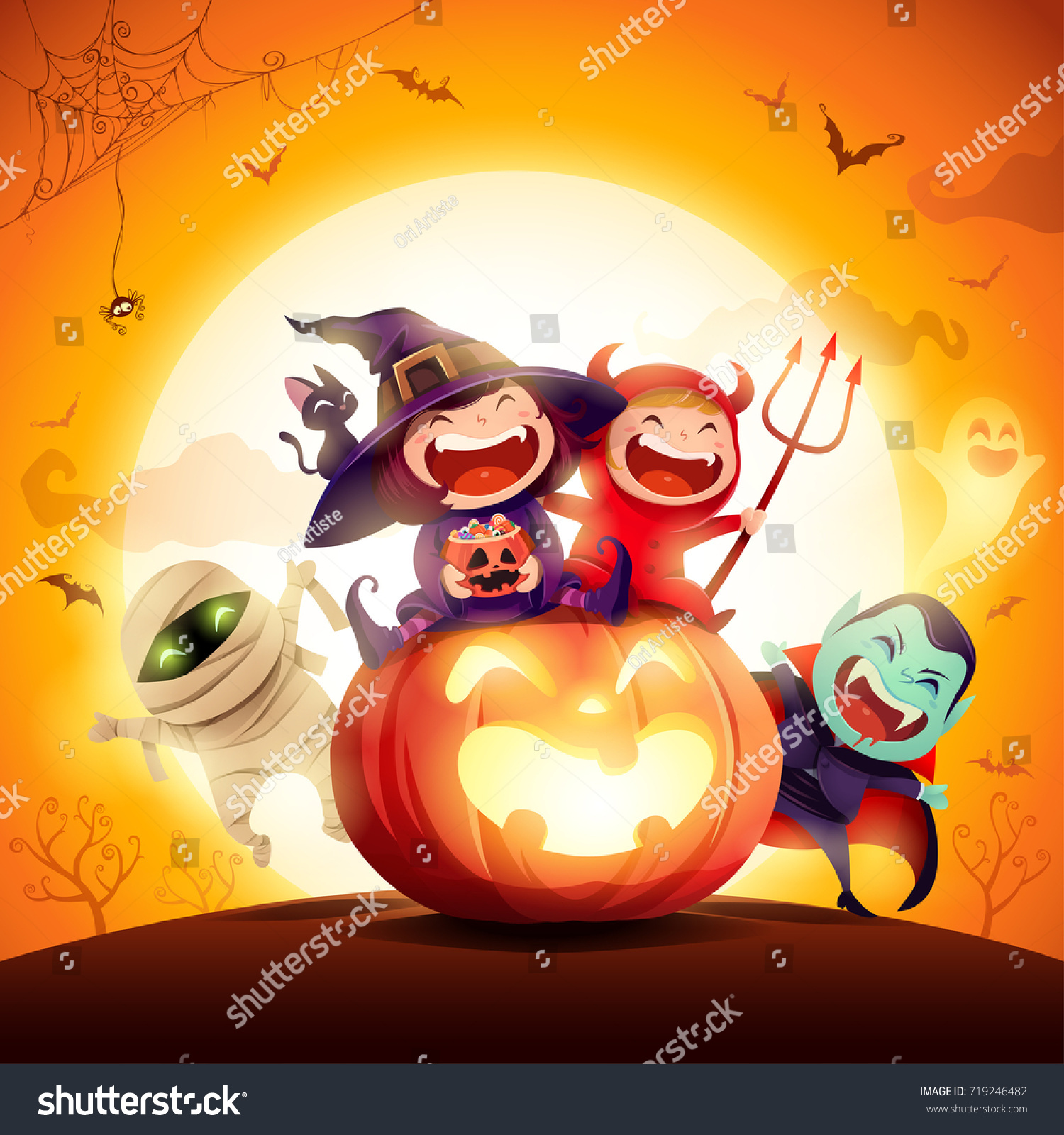 Halloween Kids Costume Party. Group of kids in halloween costume sitting on a giant pumpkin. In the moonlight. Orange background. #719246482
