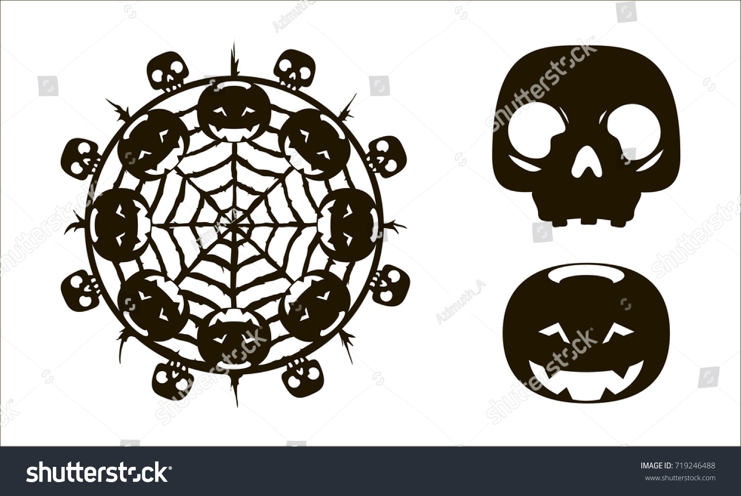 dreamcatcher pumpkins skulls laser cutting template stock vector