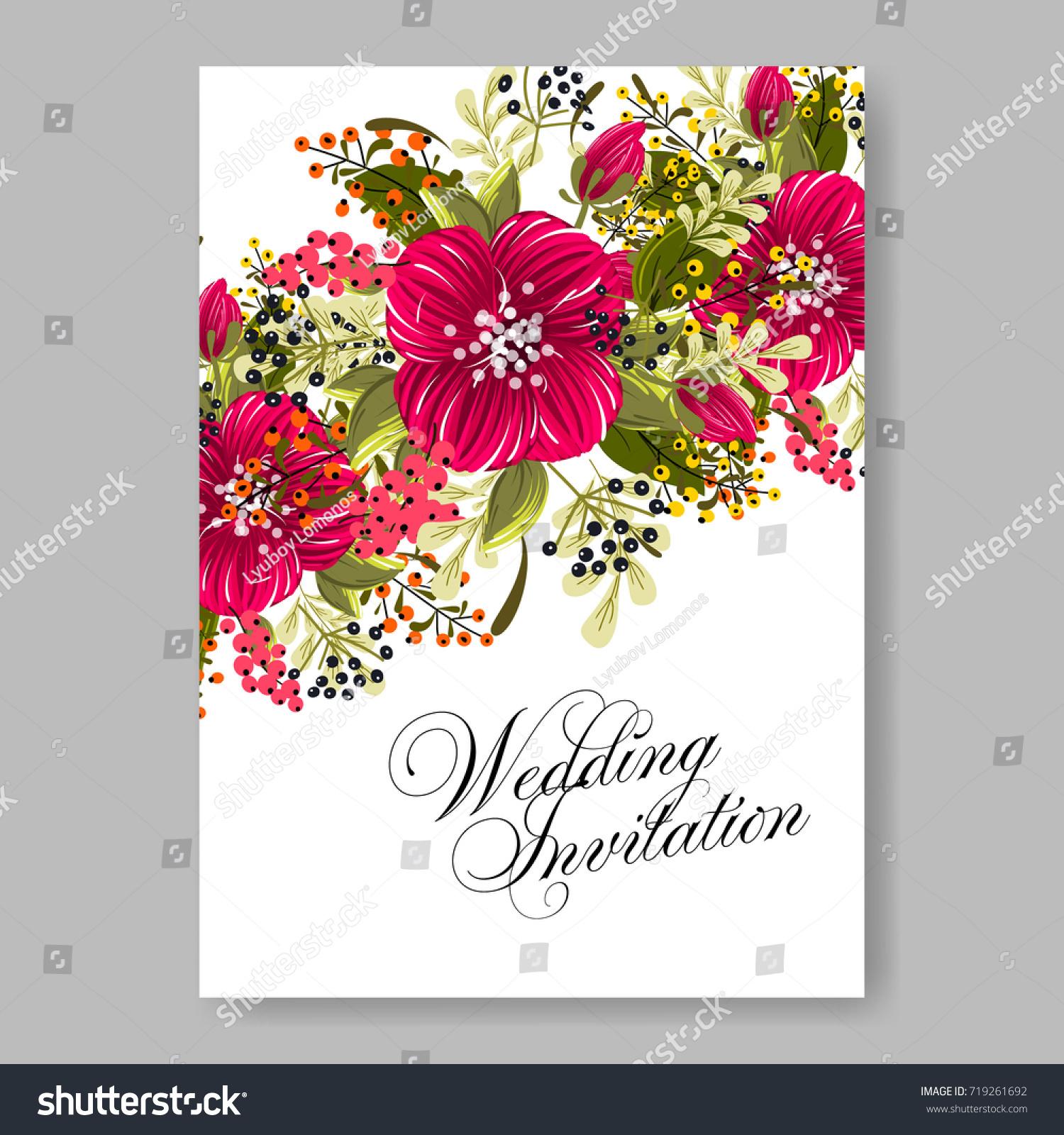 Vector Burgundy Peony Hibiscus Flowers Wedding Stock Vector Royalty