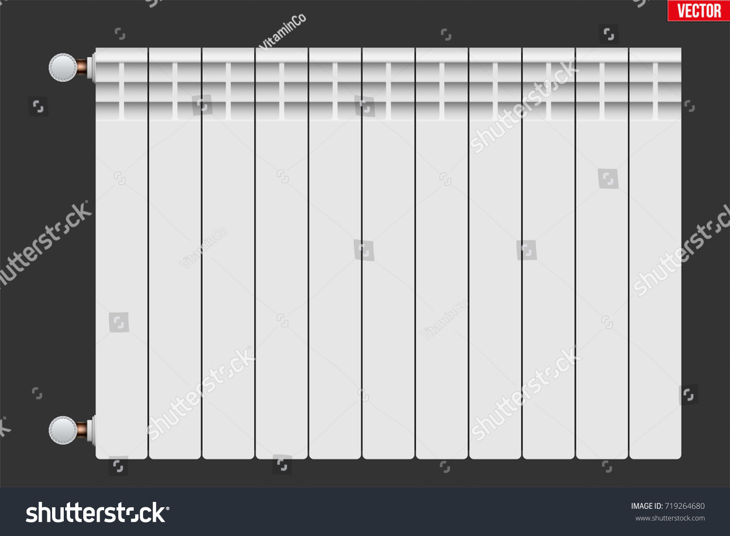 Metal Heating Radiator Central Heating System Stock Vector 719264680 ...