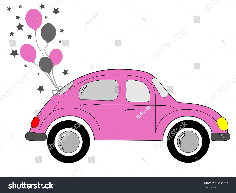 Cute Pink Car Pink Balloons Stock Vector (Royalty Free) 719275573 ...