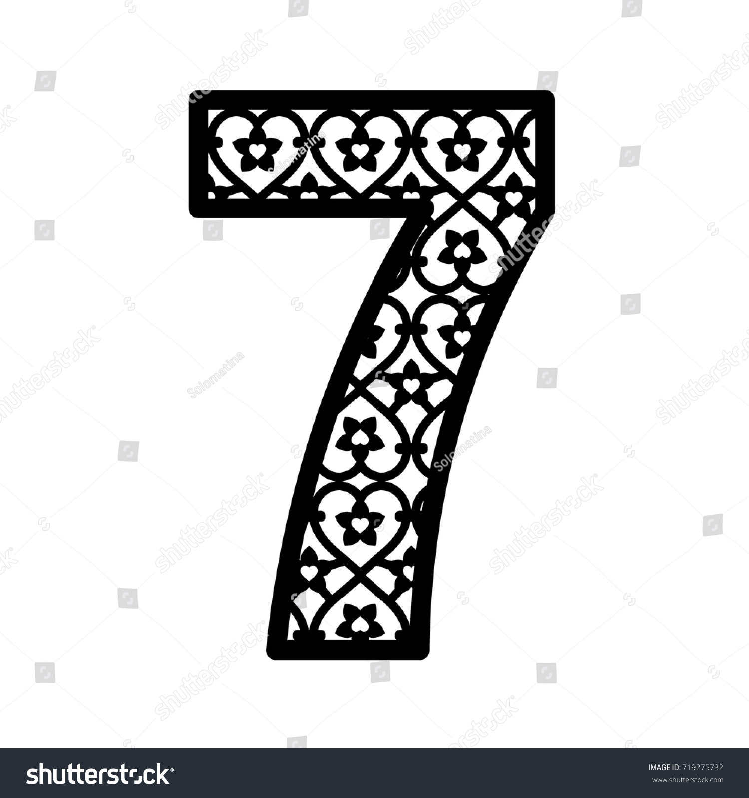 Number 7 Laser Cutting Numeral Character Stock Vector Hd Royalty