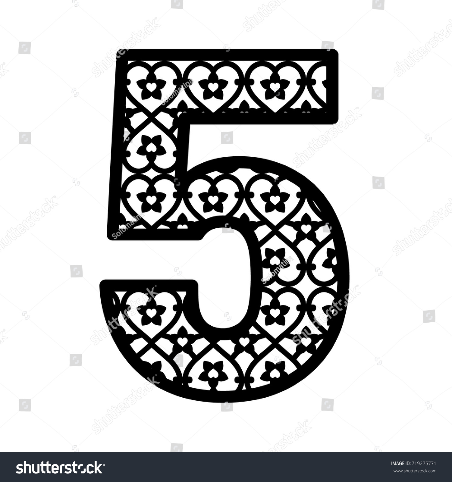 Number 5 Laser Cutting Numeral Character Stock Vector 719275771