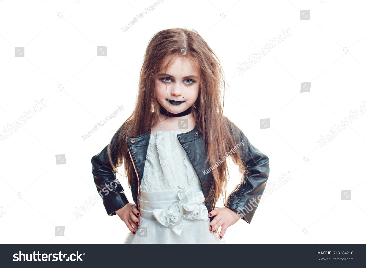 girl in bride of chucky doll costume isolated on white halloween