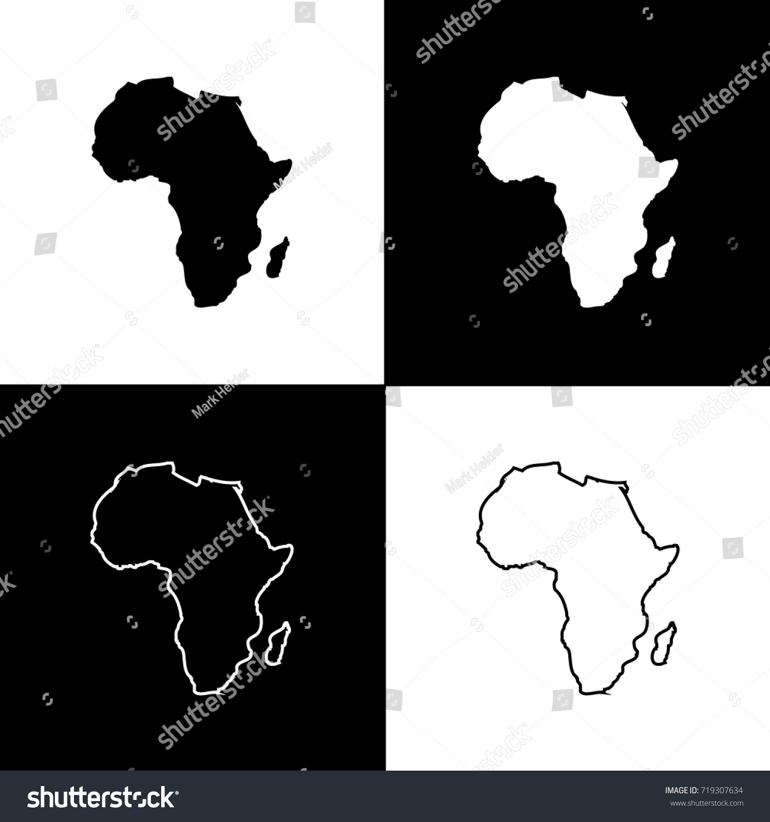 set africa map designs white black stock vector royalty free