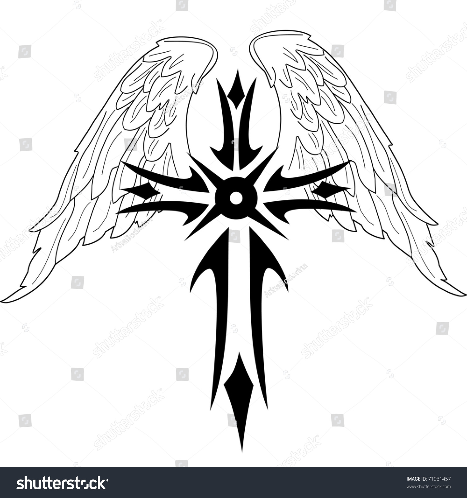 Black Cross With Wings On White Background Stock Vector ...