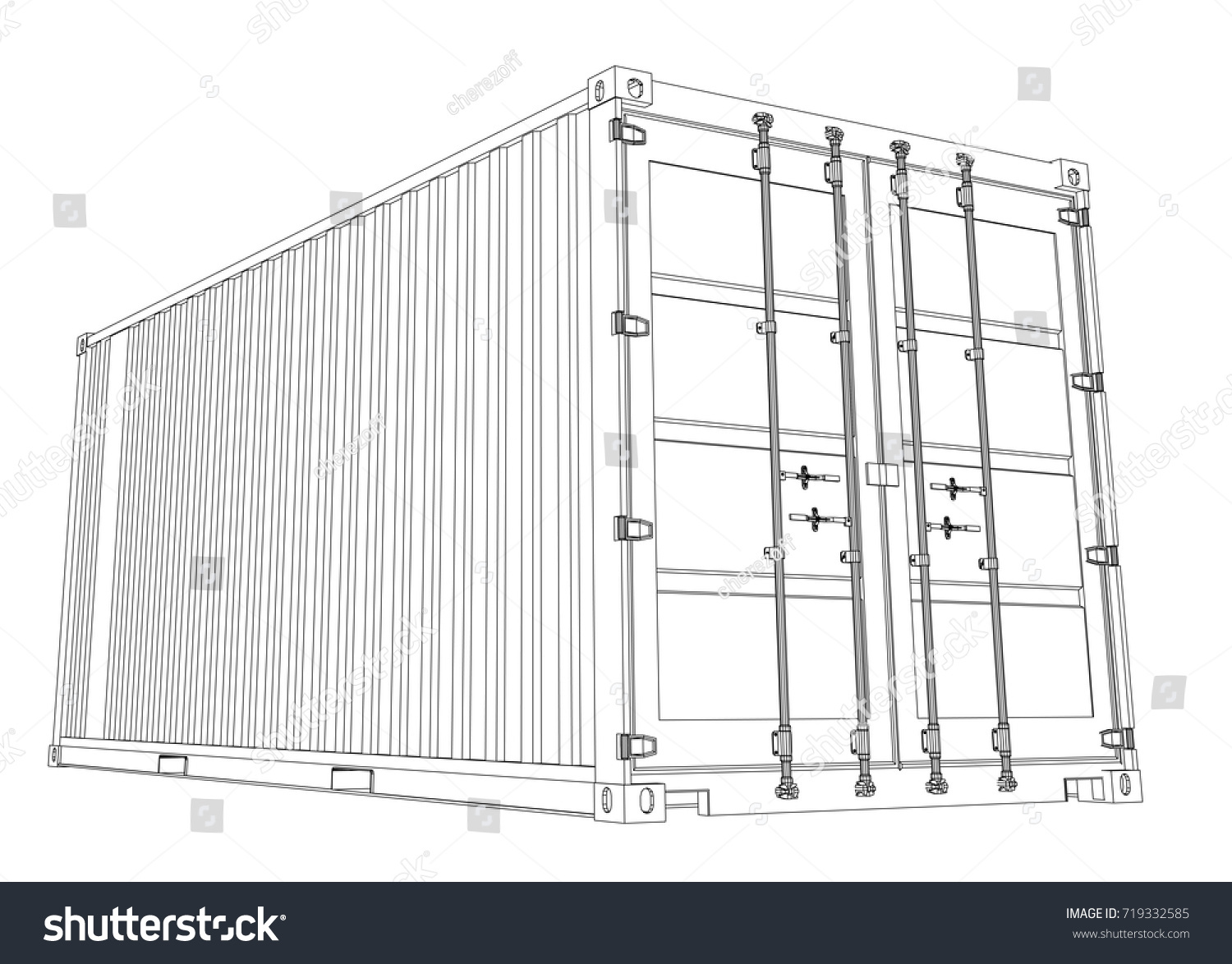 Cargo Container Wireframe Style Vector Rendering Stock Vector ...