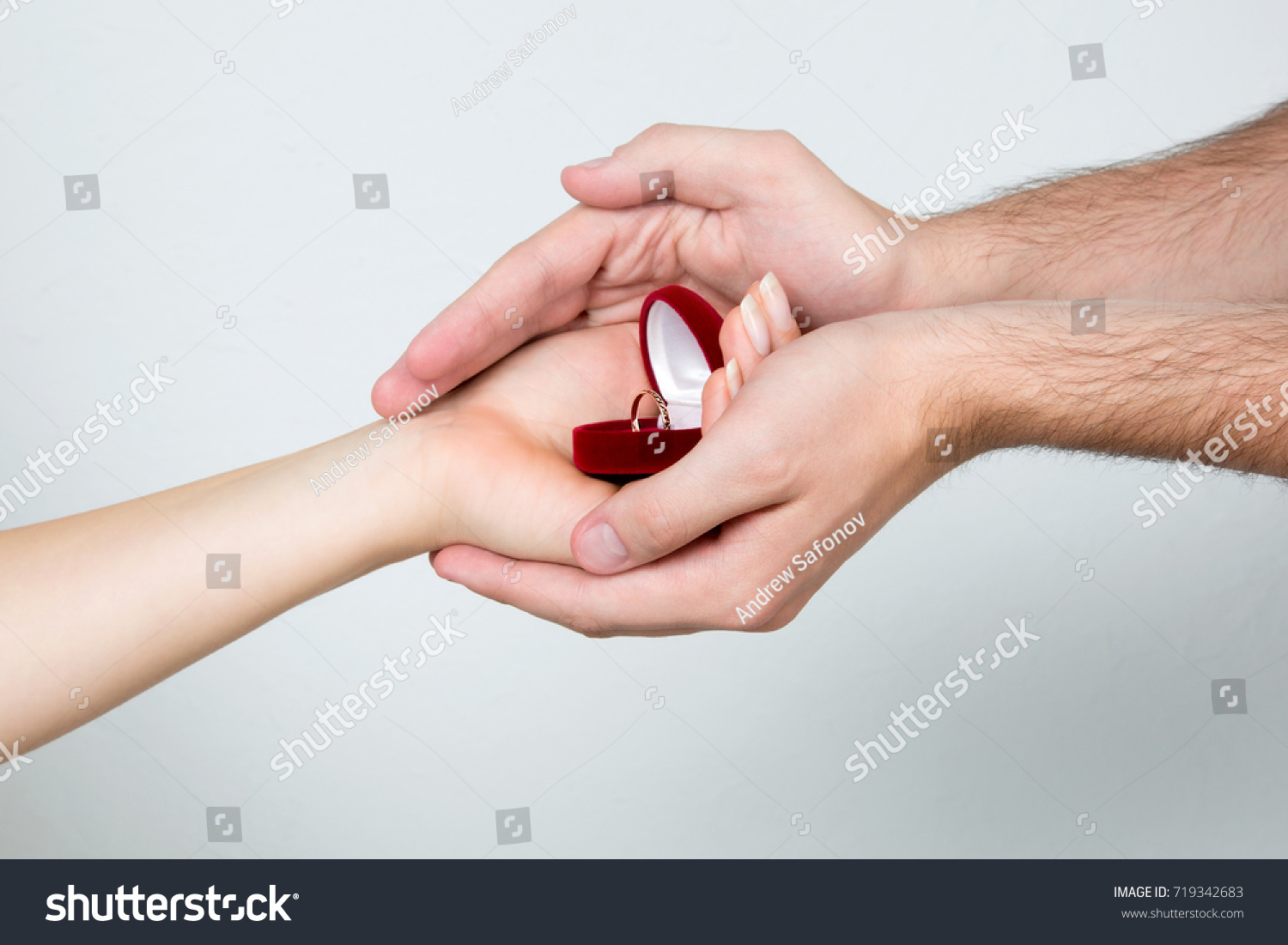 Female Male Hands Holding Ring Box Stock Photo (Edit Now) 719342683 ...