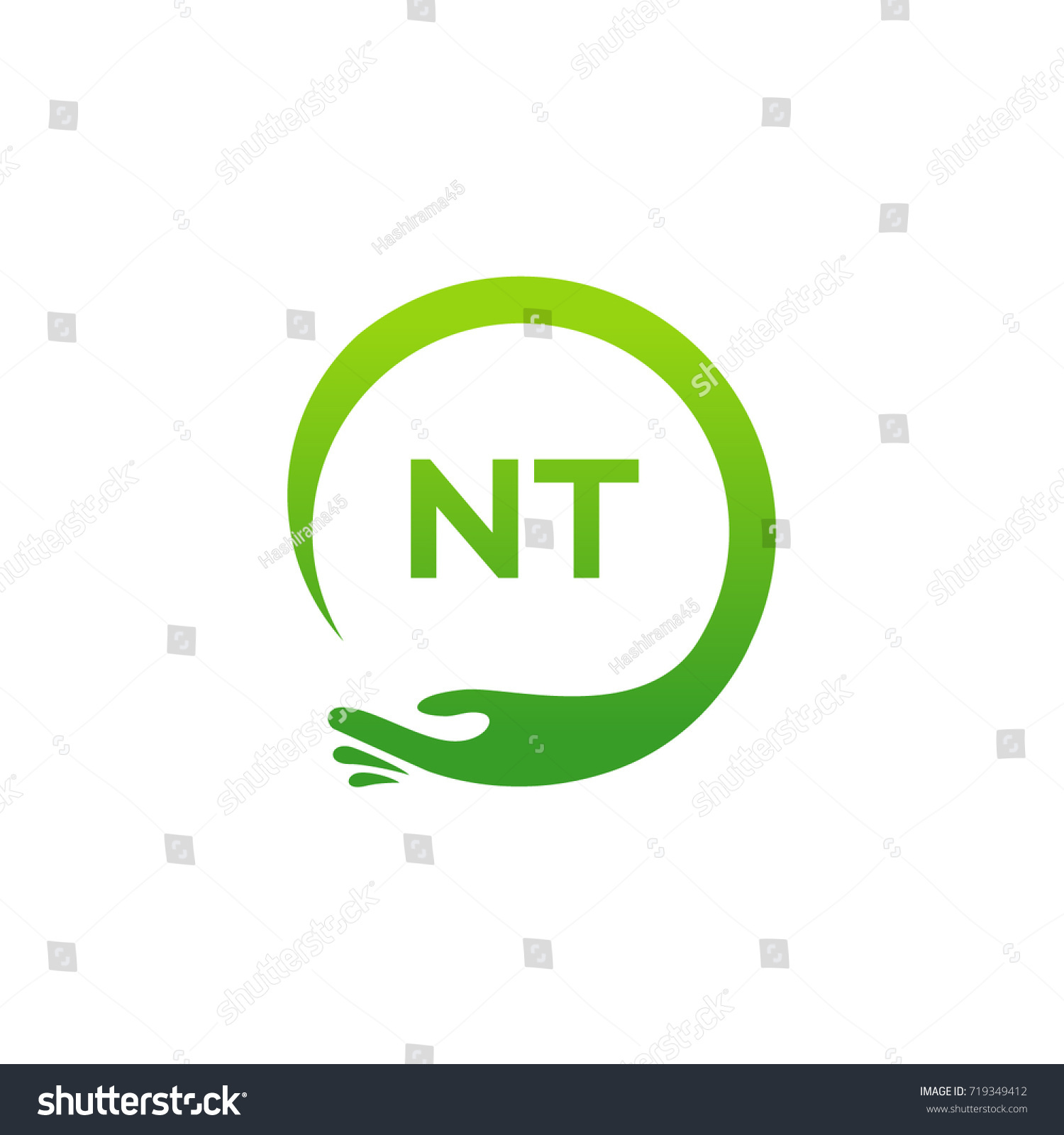 Healthcare Nt Initial Logo Designs Template Stock Vector Royalty