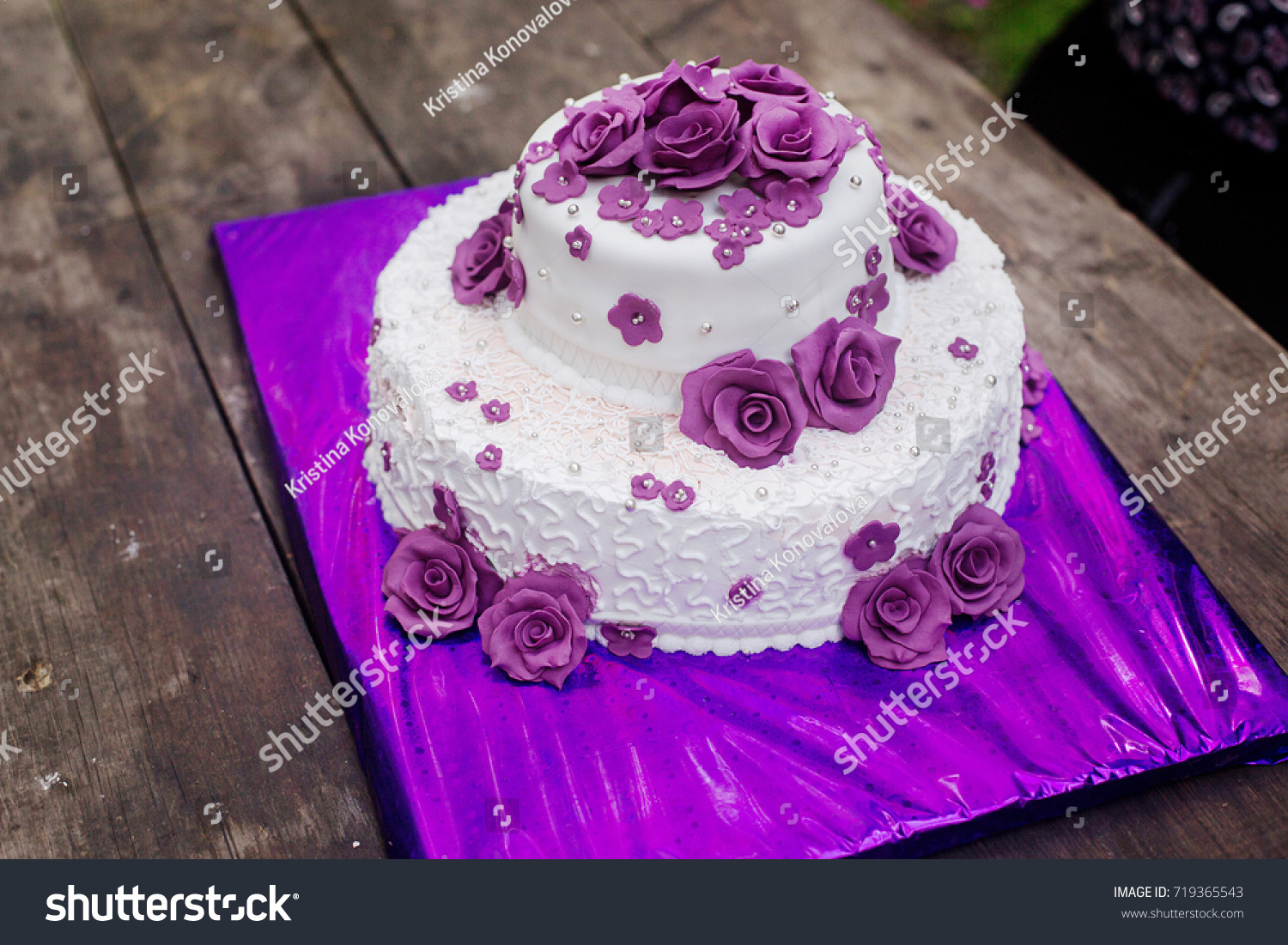 White Biscuit Wedding Cake Purple Flowers Stock Photo Edit Now