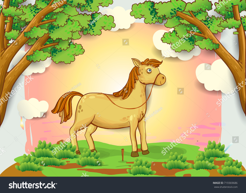 Vector De Stock Libre De Regalias Sobre Cartoon Horse Illustration Meadow Blue Sky719369686
