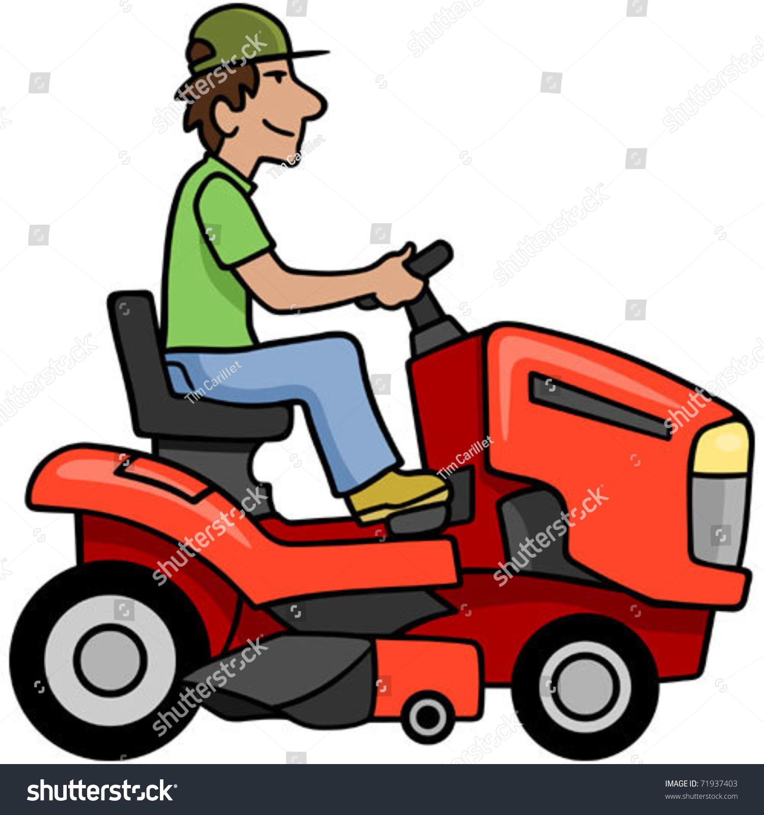 cartoon man on riding mower stock vector 71937403