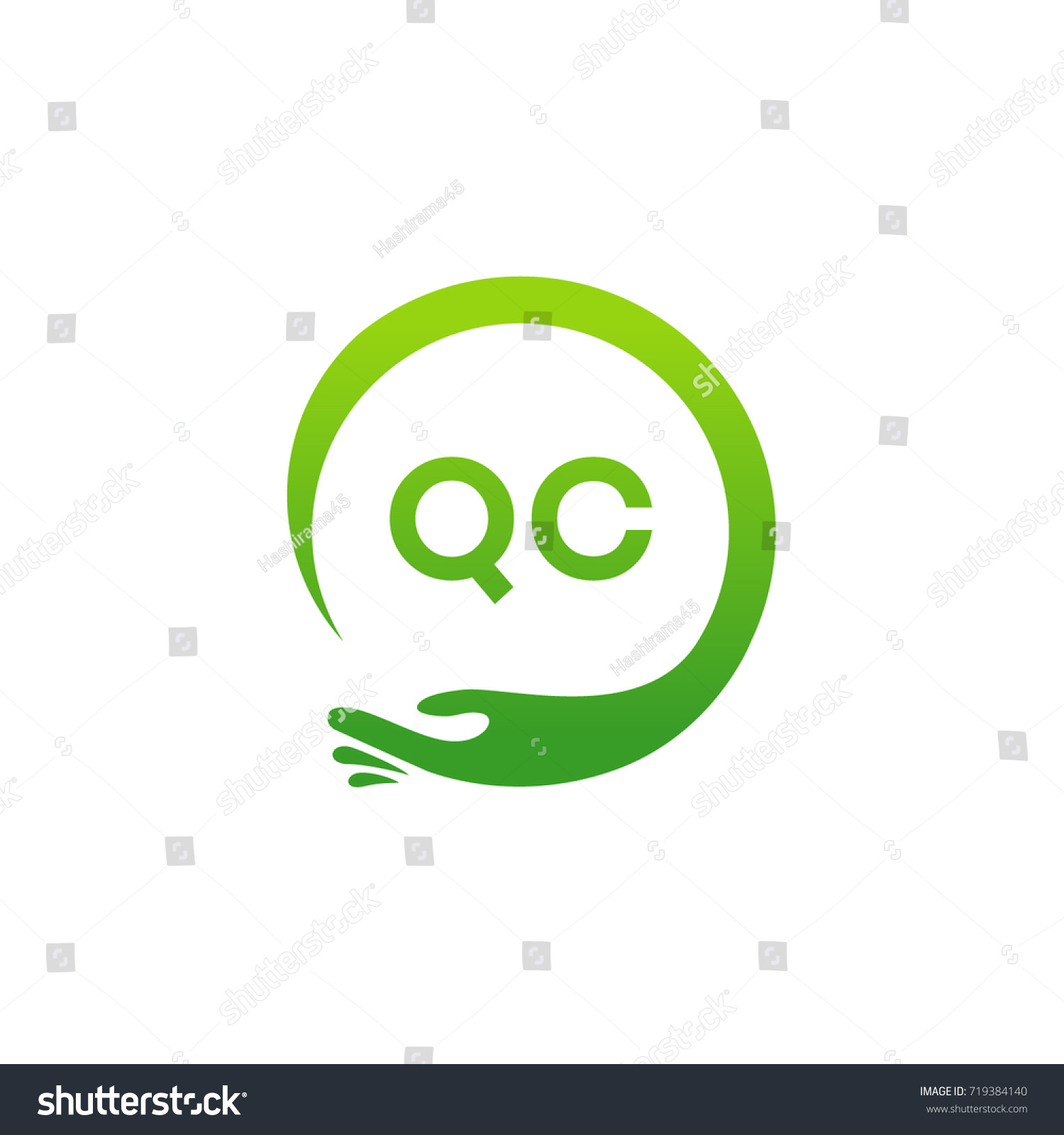 Healthcare QC Initial Logo Designs Template Stock Vector (2018 ...