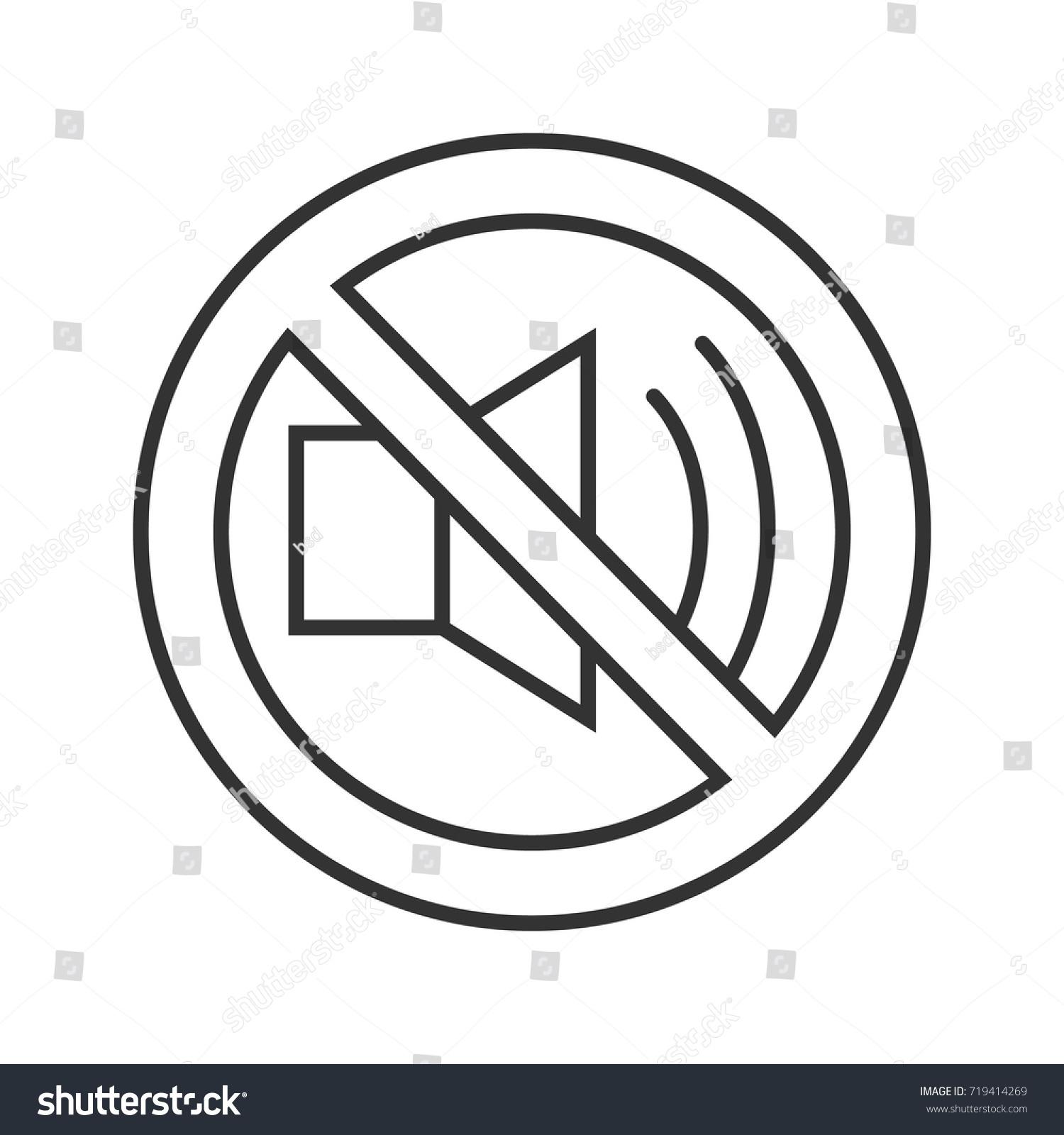 Forbidden Sign Loudspeaker Linear Icon Thin Stock Vector Royalty