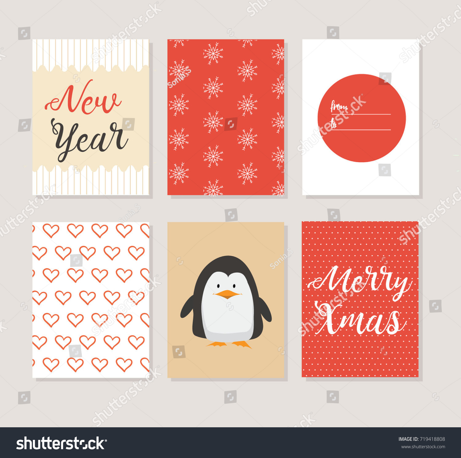 Merry christmas greeting cards set cute stock vector 719418808 merry christmas greeting cards set with cute penguin and pattern designs kristyandbryce Gallery