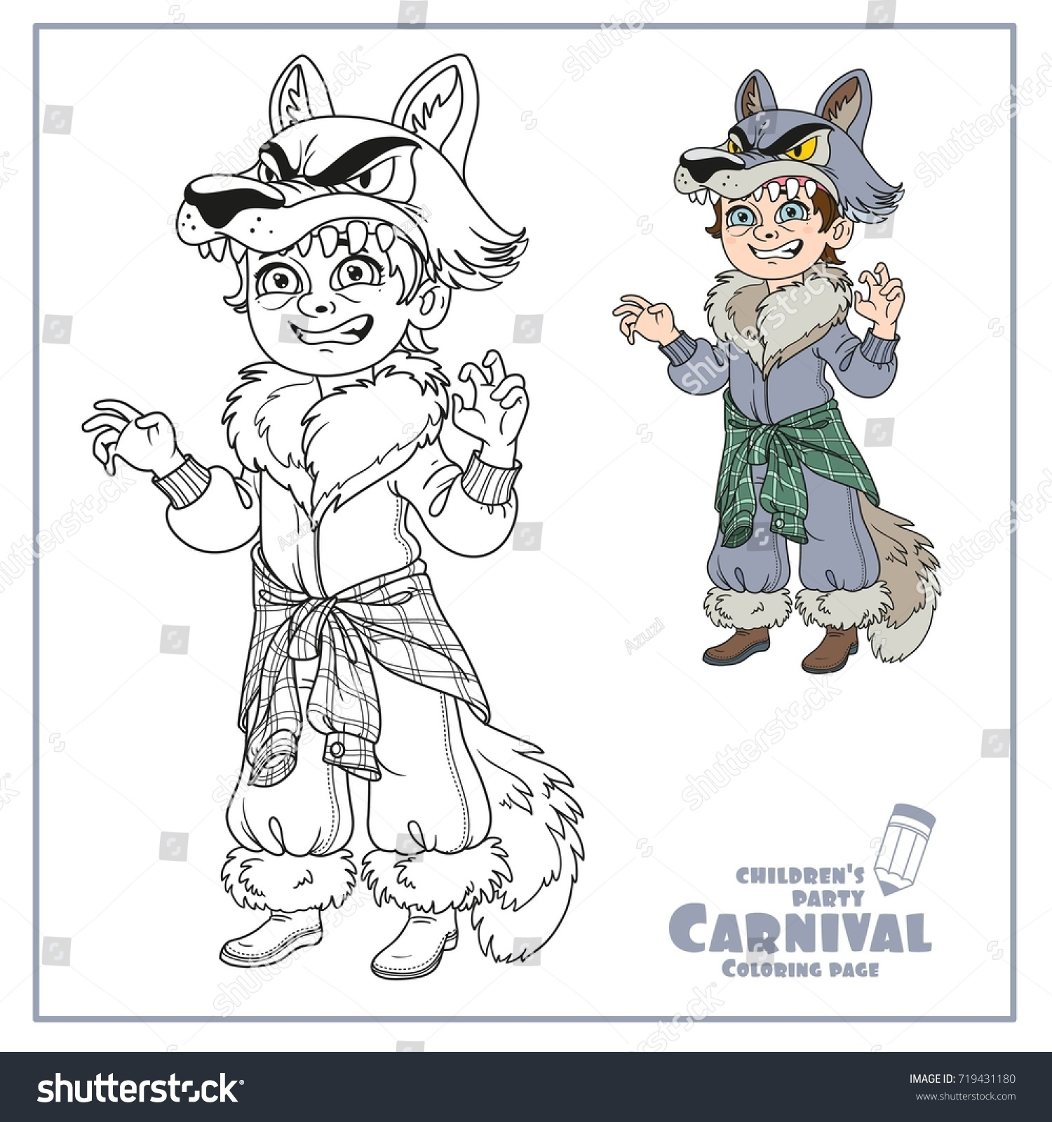 Cute Boy Werewolf Costume Color Outlined Stock Vector