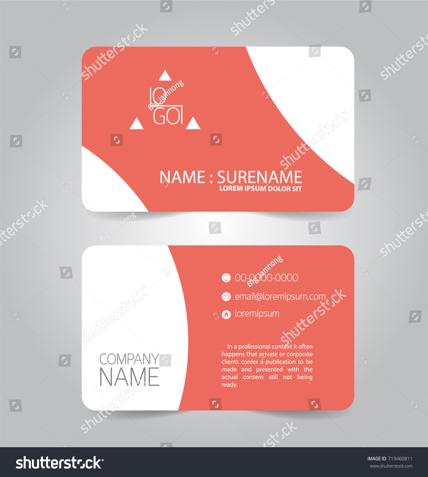 Modern Red Orange Business Name Card Stock Vector 719460811 ...