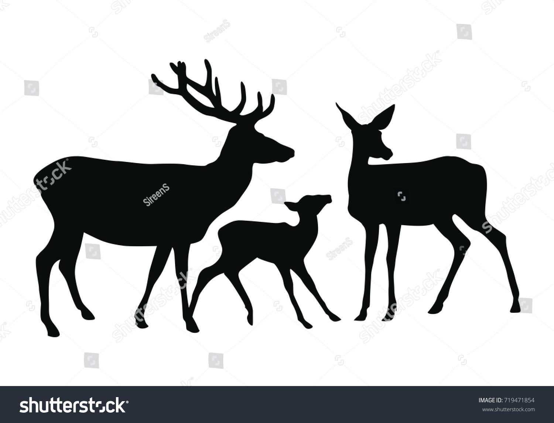 Vector Dark Silhouette Deer Family Deer Stock Vector