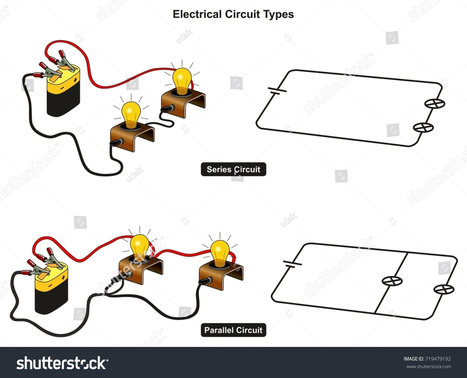 Electrical Circuit Types Infographic Diagram Showing Stock Electricity Circuits For Kids Images How You Connect Lamps In Series And Parallel