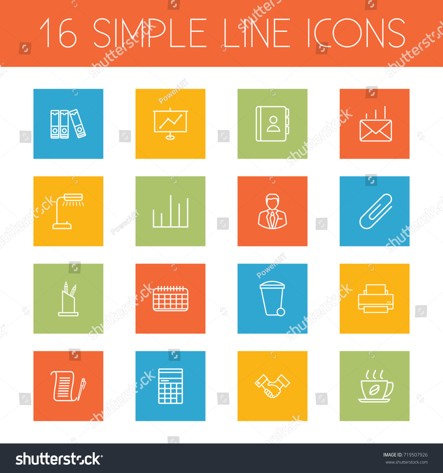 Set 16 Bureau Outline Icons Setcollection Stock Vector 719507926