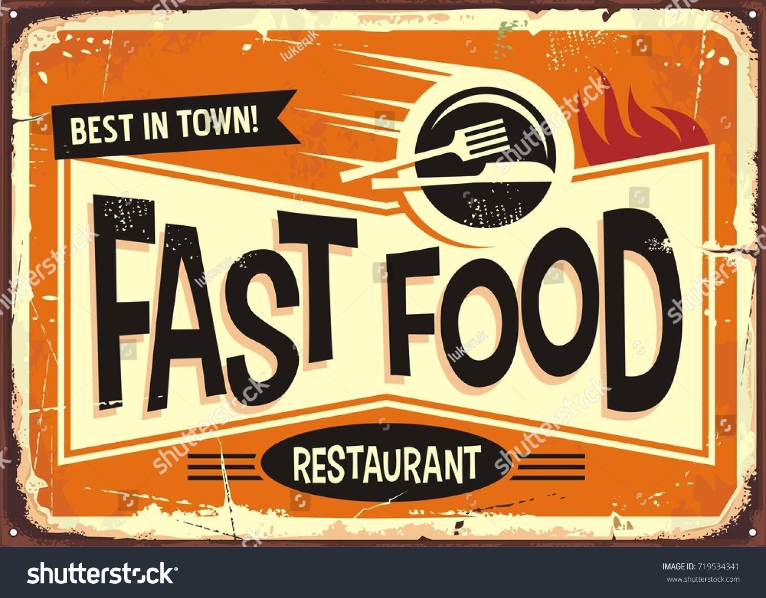 Fast Food Restaurant Vintage Tin Sign Stock Vector Royalty Free 719534341