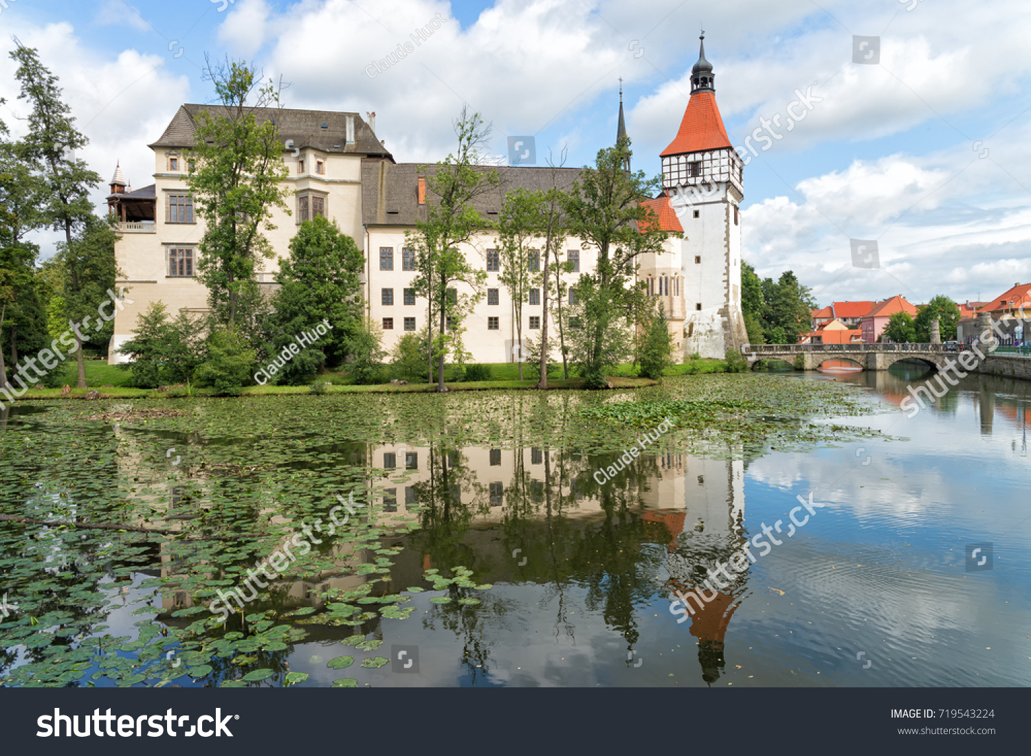 View of the Blatna Castle in the Czech Republic with reflection in the water