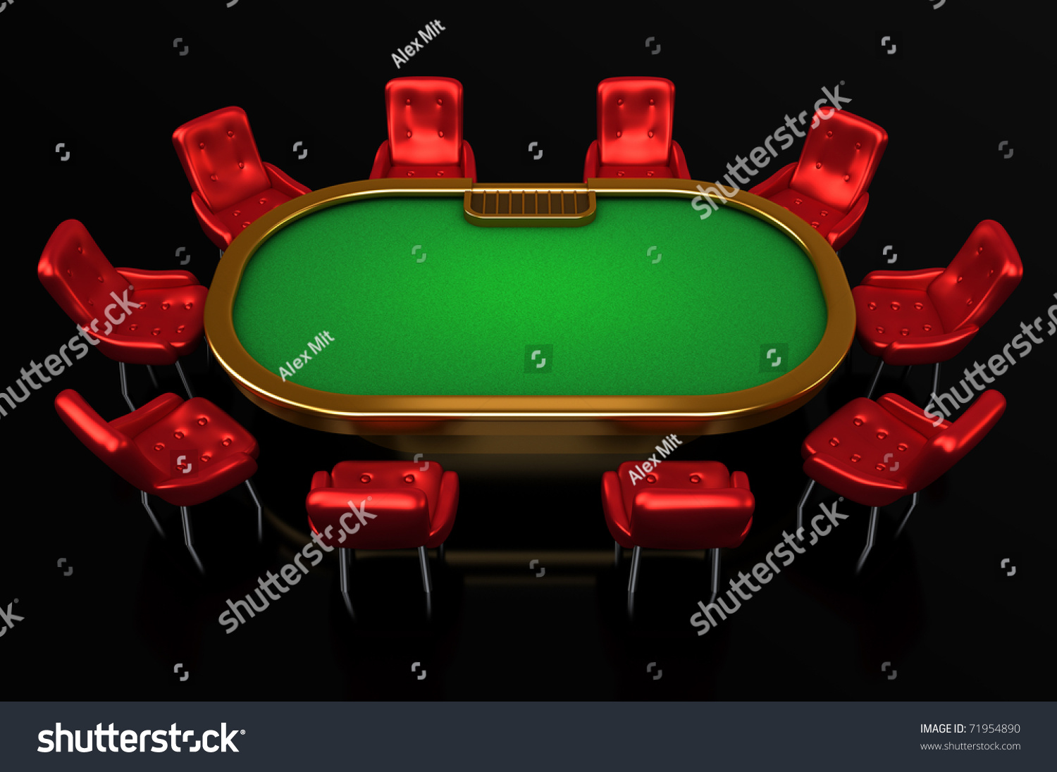 Blackjack table top view - Poker Table With Chairs Top Side View Isolated On Black