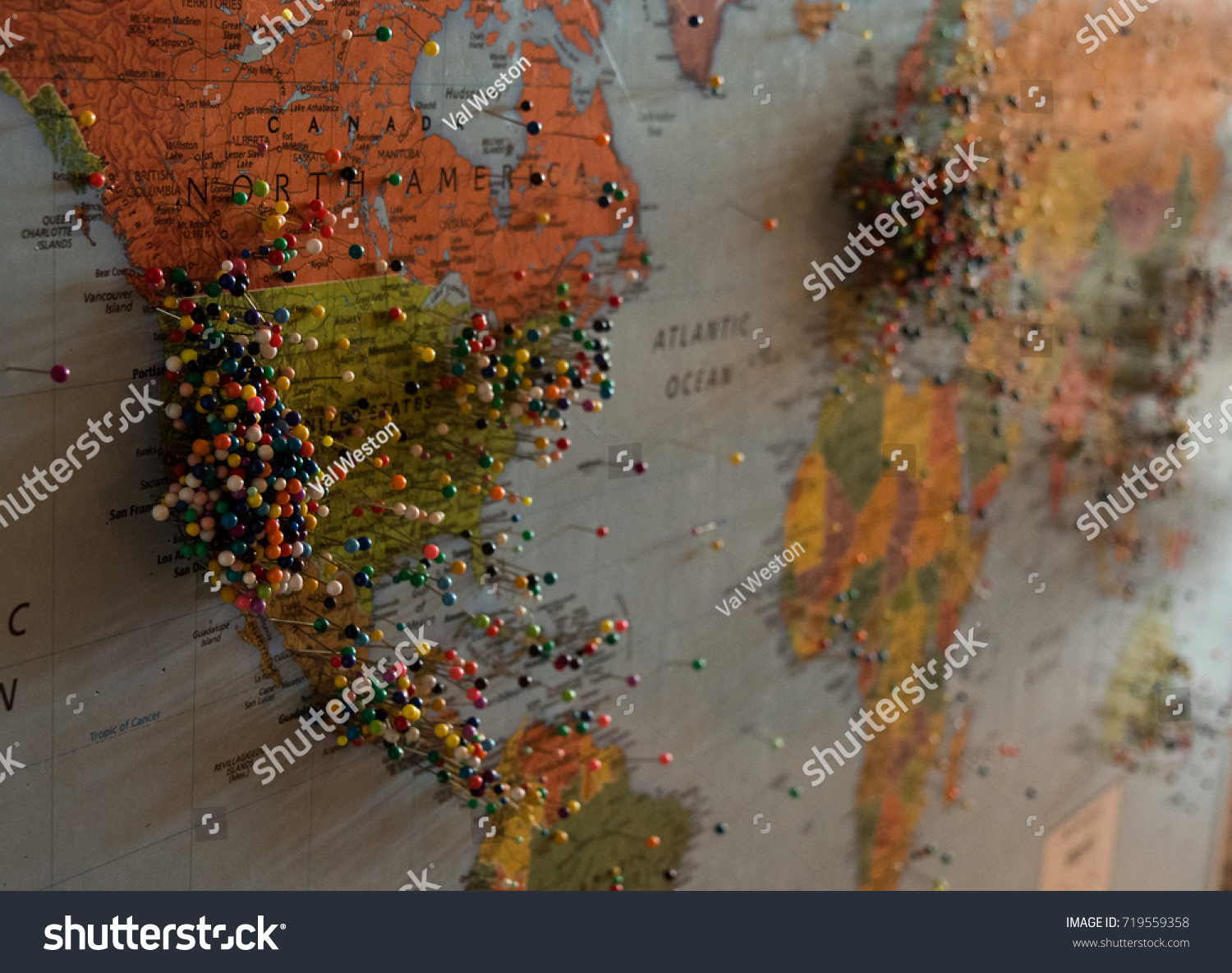 World Map Colored Pins Marking Destinations Stock Photo (Edit Now ...