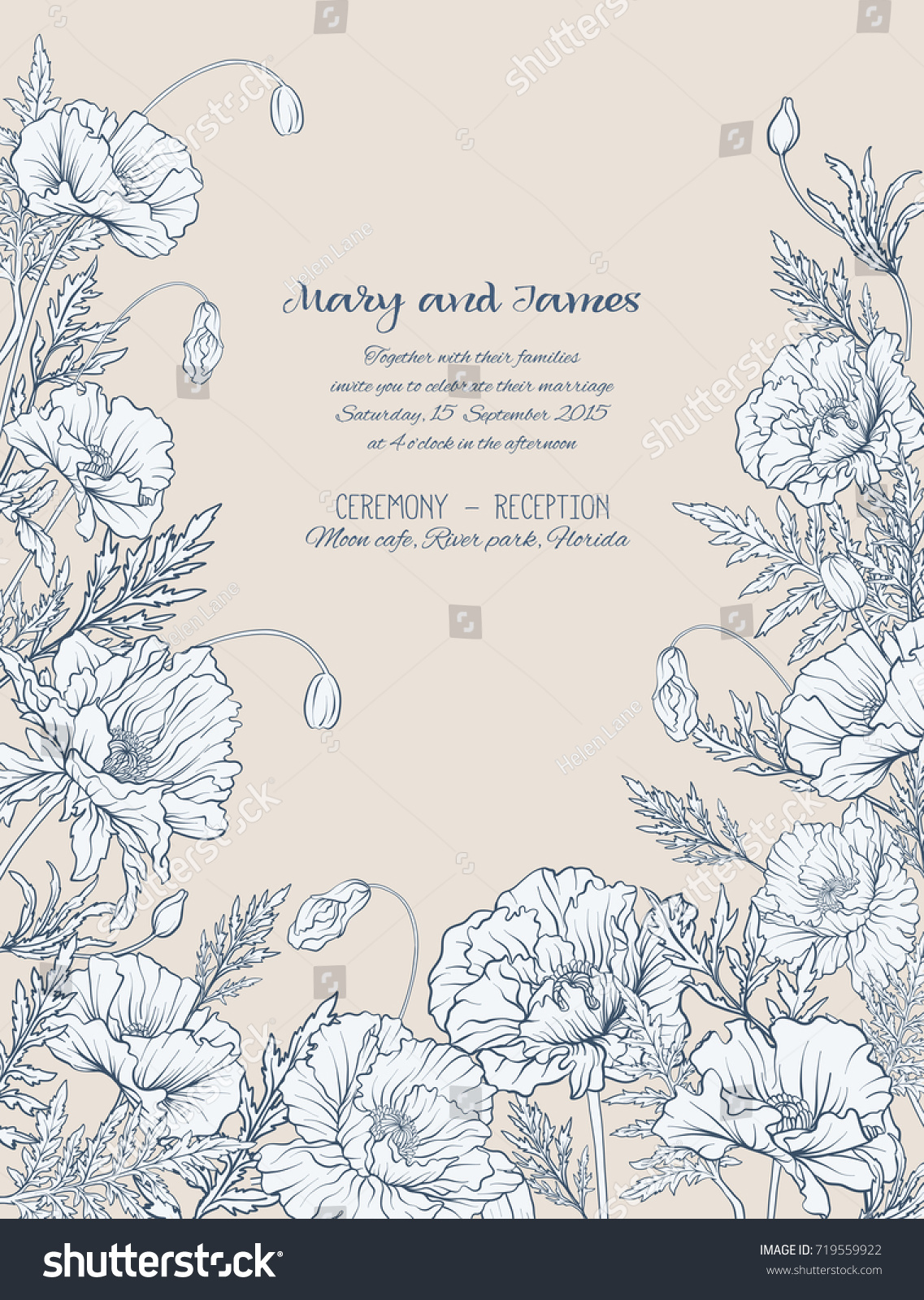 wedding invitations with poppies in vintage style on beige background - Vintage Style Wedding Invitations
