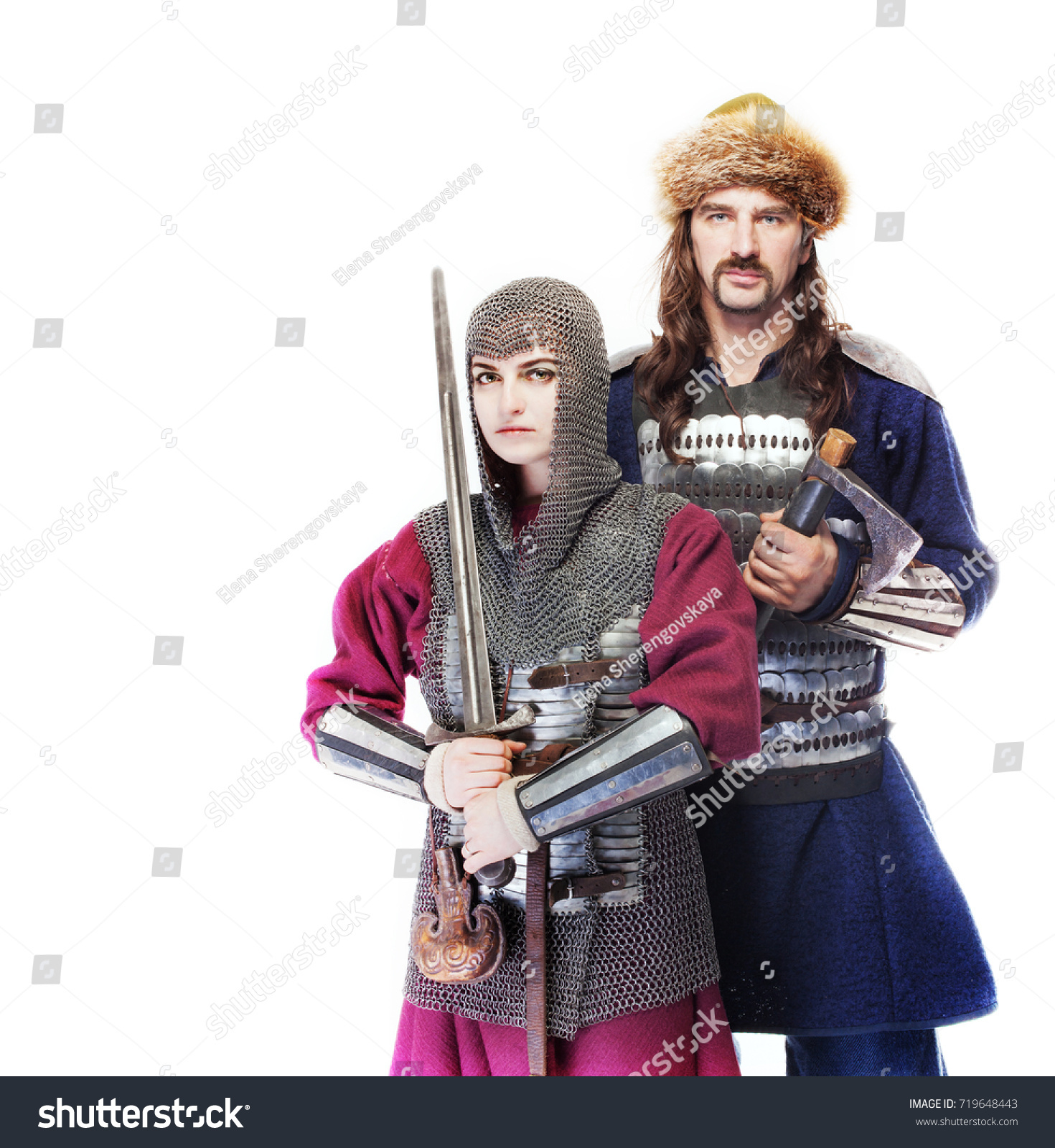 Male female medieval warriors armour chain stock photo 719648443 male and female medieval warriors in armour and chain mail girl warrior in chain mail sciox Choice Image