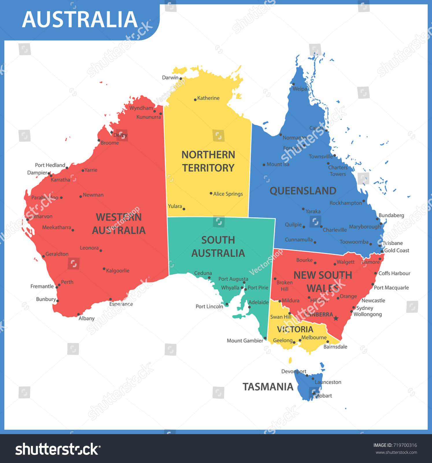 Detailed Map Australia Regions States Cities Stock Vector Royalty